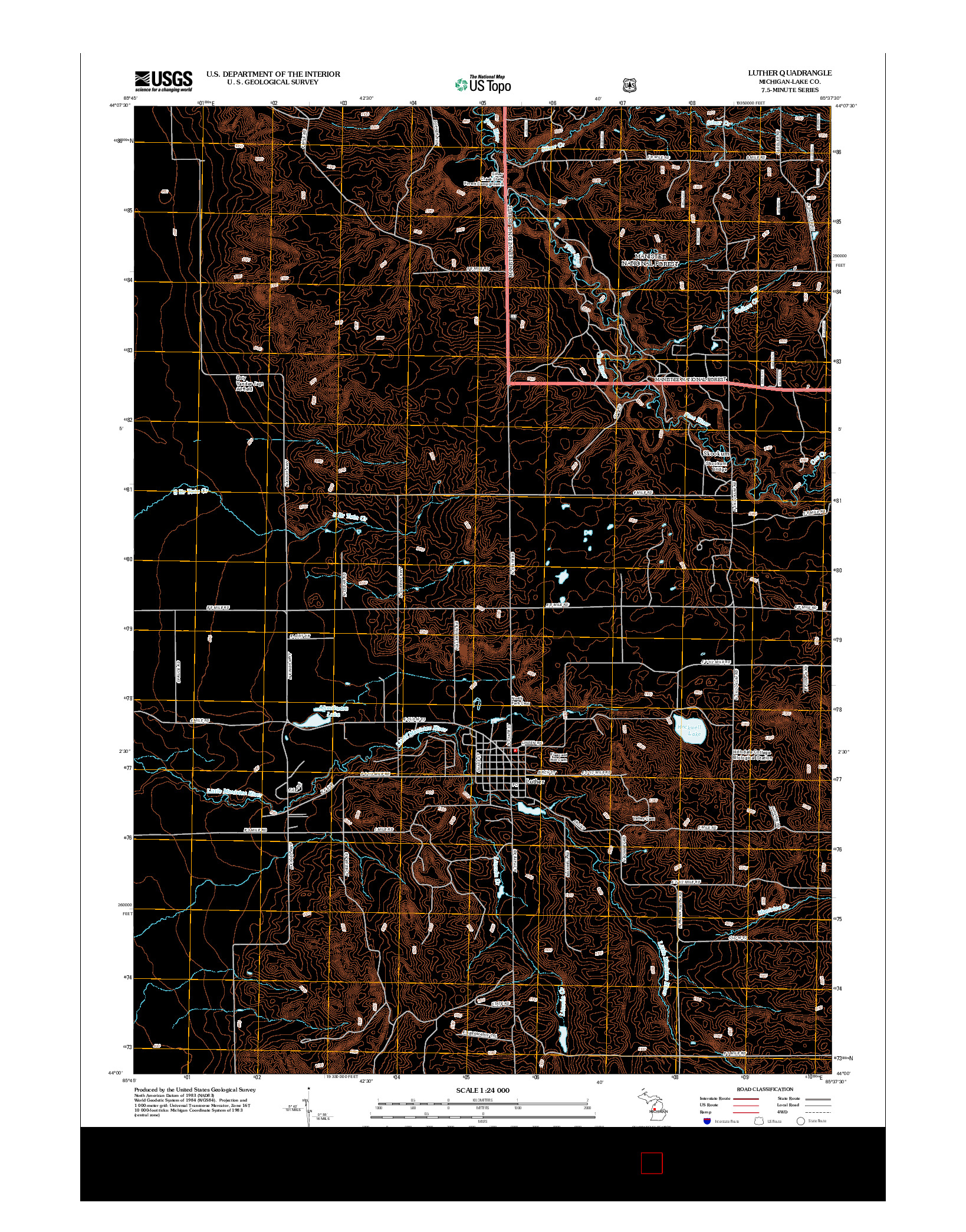 USGS US TOPO 7.5-MINUTE MAP FOR LUTHER, MI 2012