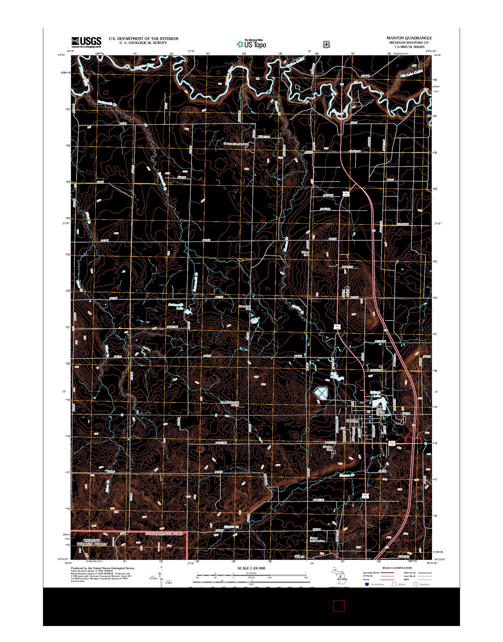 USGS US TOPO 7.5-MINUTE MAP FOR MANTON, MI 2012