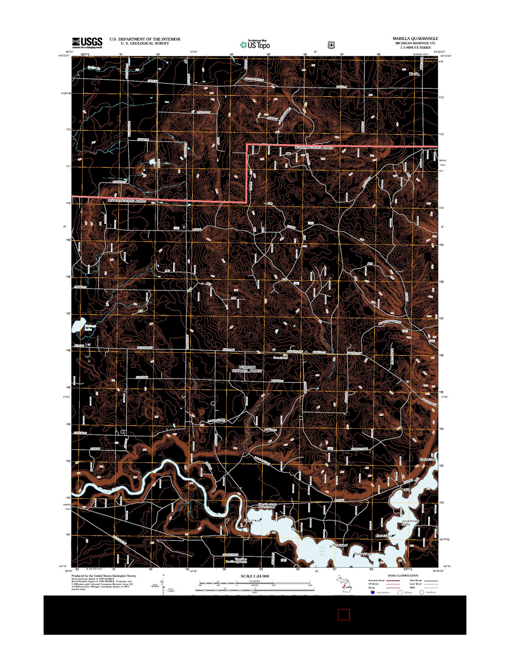 USGS US TOPO 7.5-MINUTE MAP FOR MARILLA, MI 2012