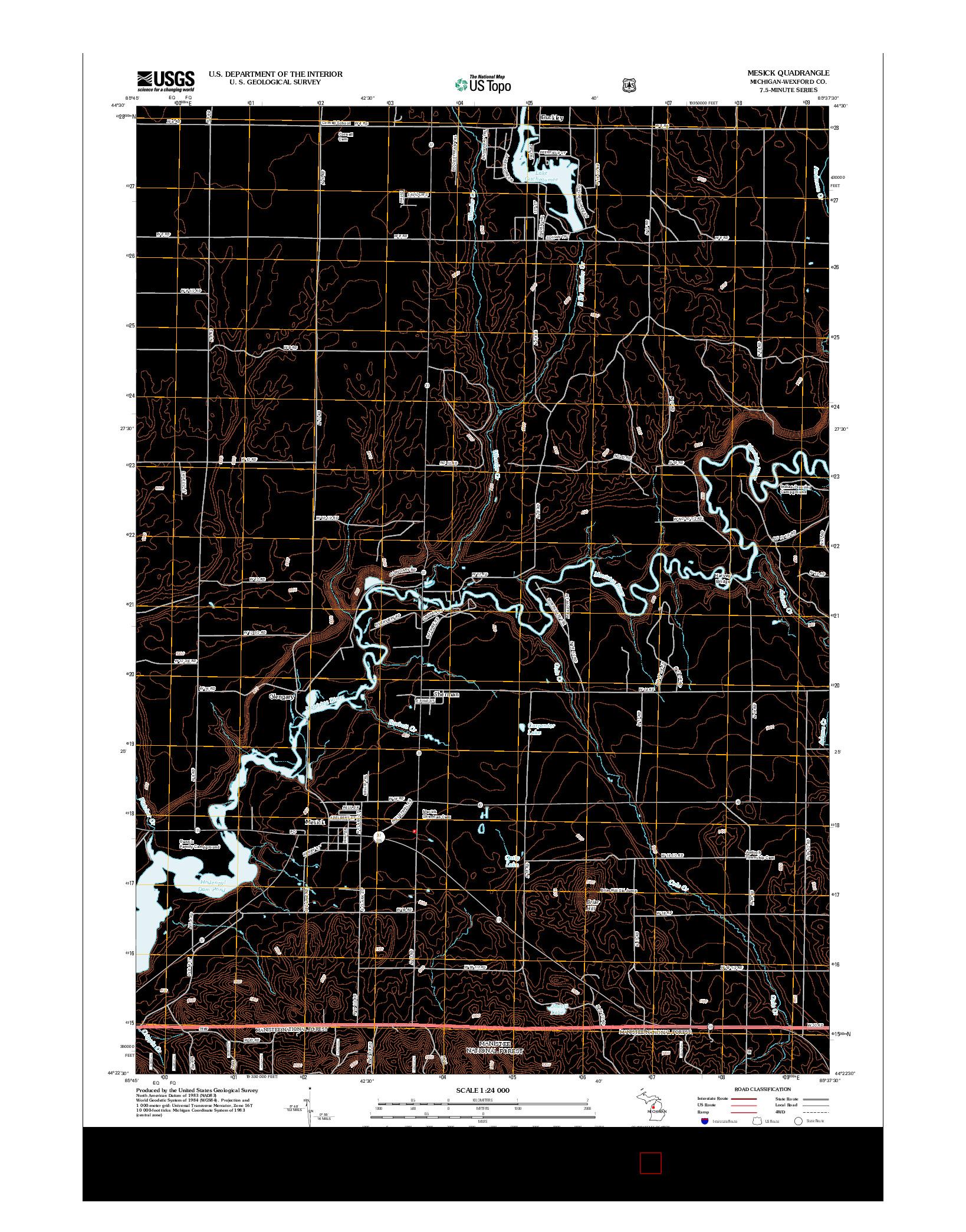 USGS US TOPO 7.5-MINUTE MAP FOR MESICK, MI 2012