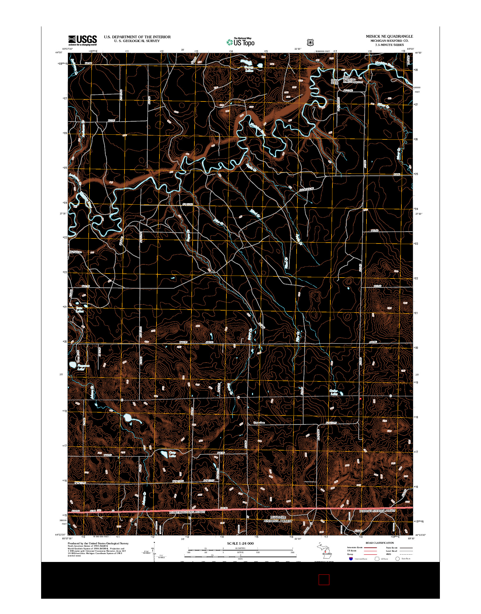 USGS US TOPO 7.5-MINUTE MAP FOR MESICK NE, MI 2012
