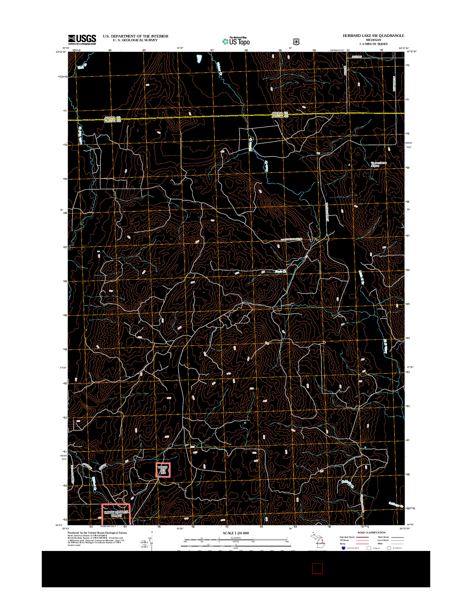 USGS US TOPO 7.5-MINUTE MAP FOR HUBBARD LAKE SW, MI 2012