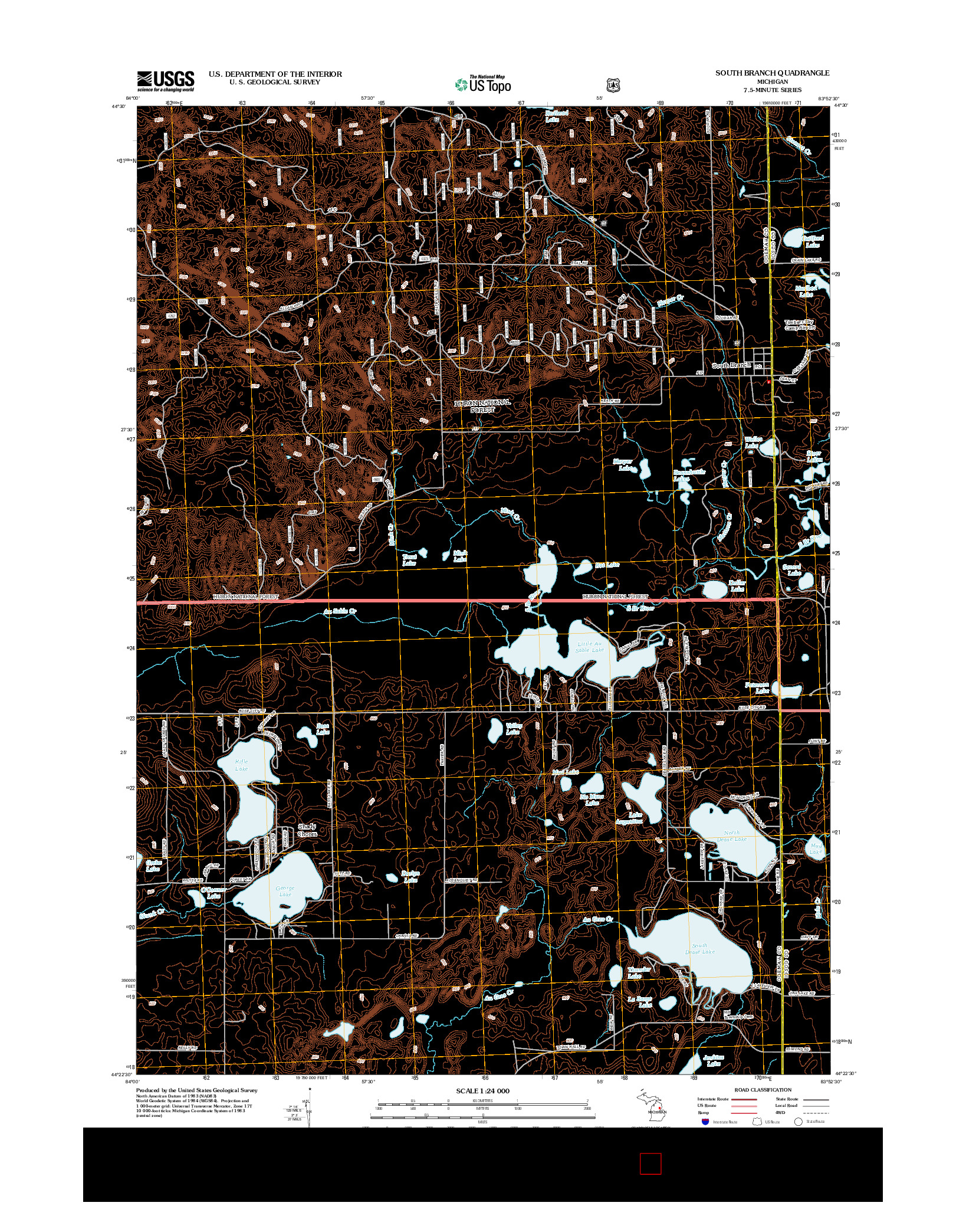 USGS US TOPO 7.5-MINUTE MAP FOR SOUTH BRANCH, MI 2012