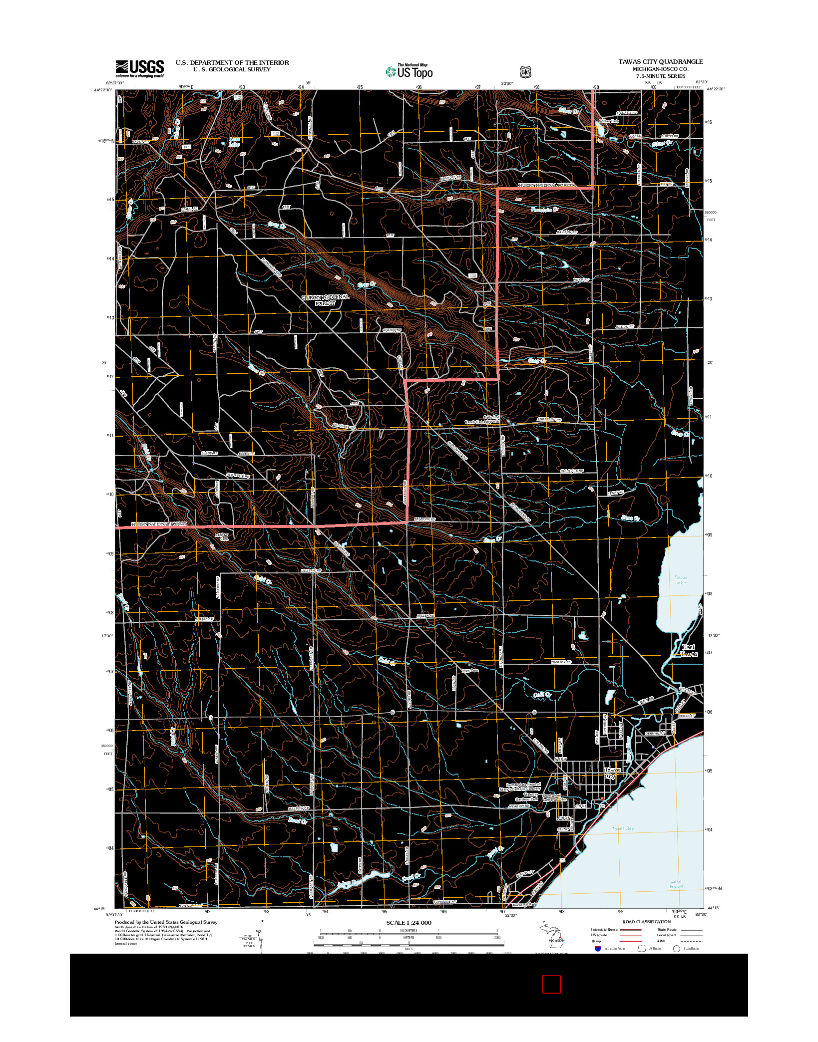 USGS US TOPO 7.5-MINUTE MAP FOR TAWAS CITY, MI 2012