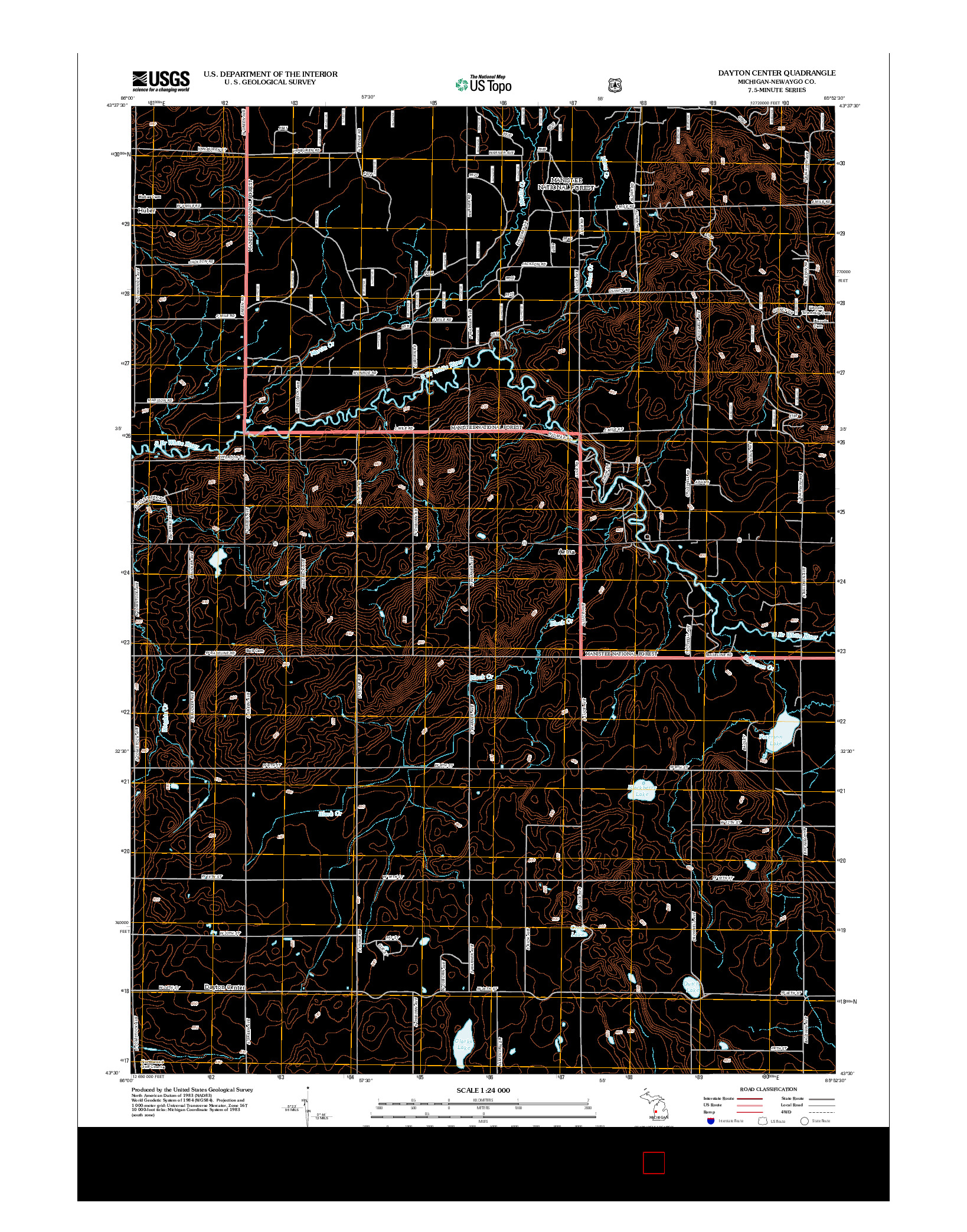 USGS US TOPO 7.5-MINUTE MAP FOR DAYTON CENTER, MI 2012