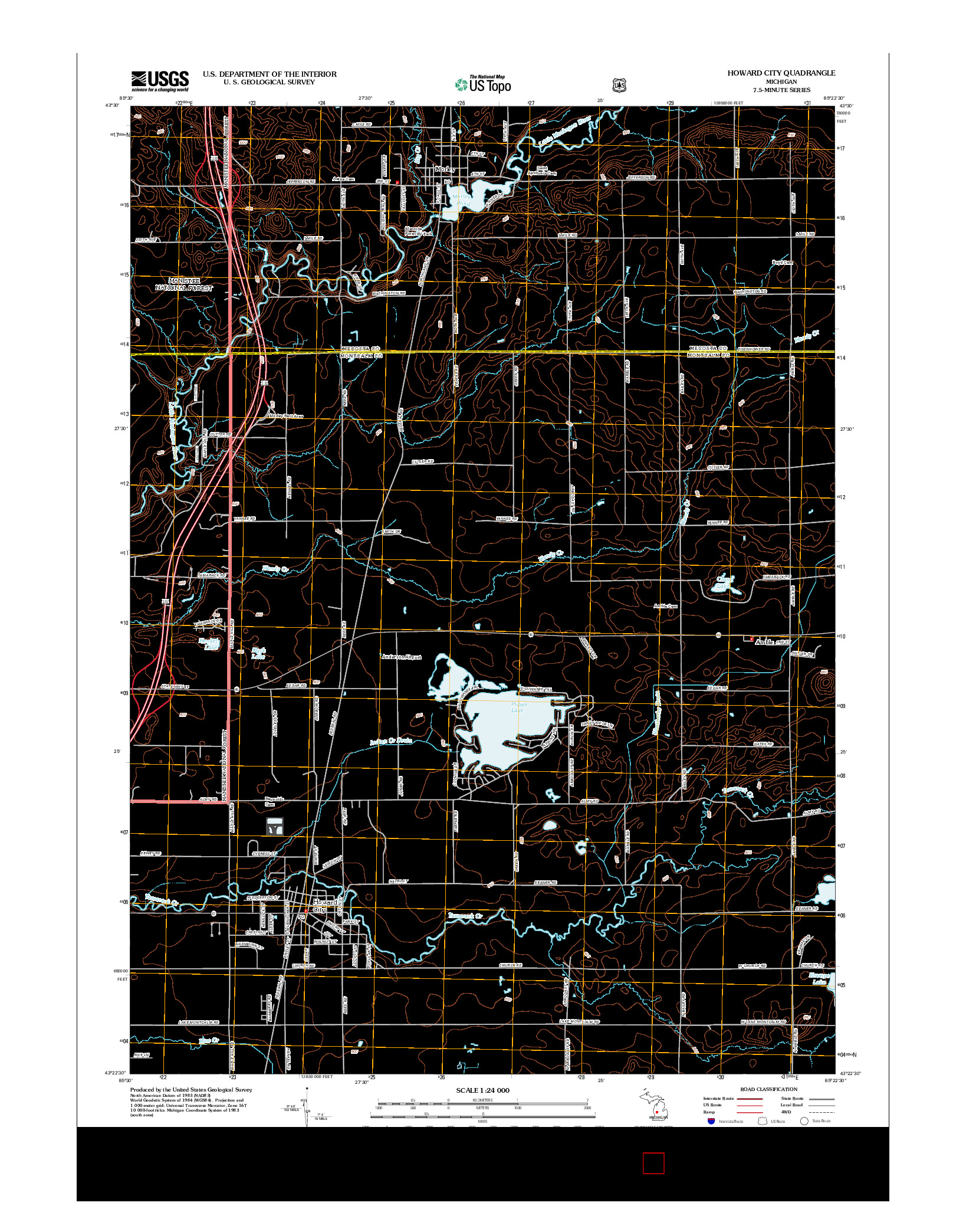 USGS US TOPO 7.5-MINUTE MAP FOR HOWARD CITY, MI 2012