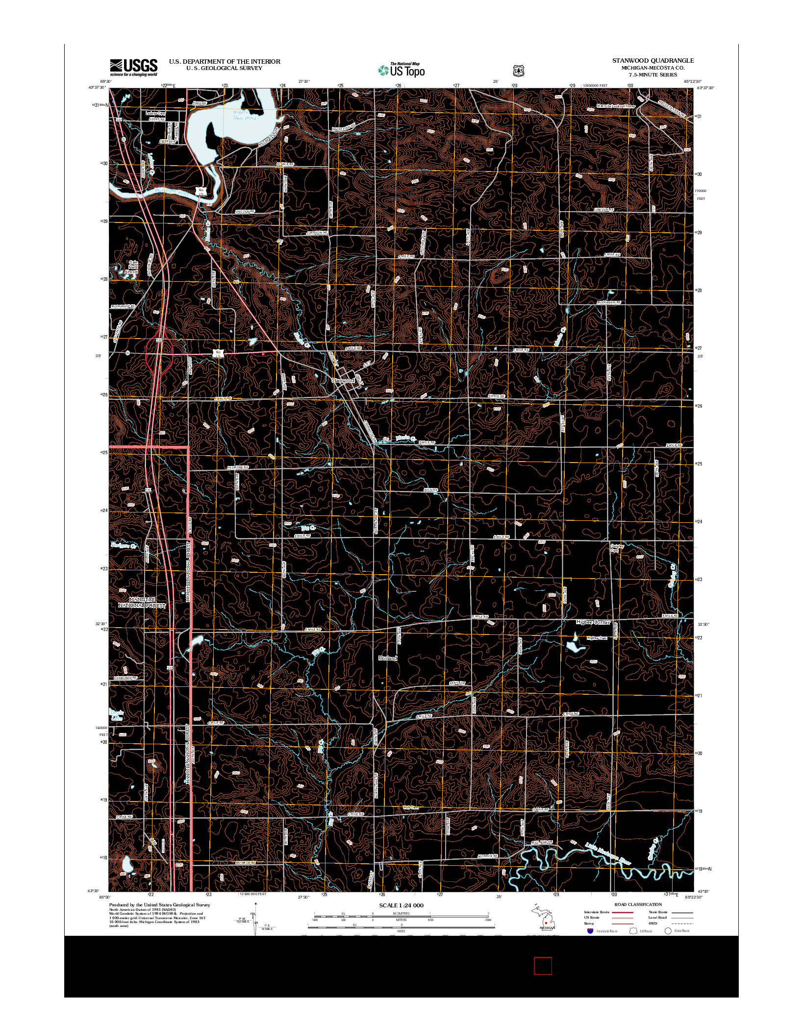 USGS US TOPO 7.5-MINUTE MAP FOR STANWOOD, MI 2012