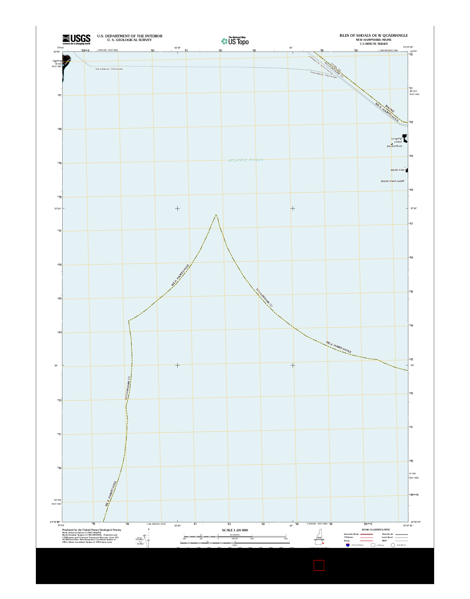 USGS US TOPO 7.5-MINUTE MAP FOR ISLES OF SHOALS OE W, NH-ME 2012