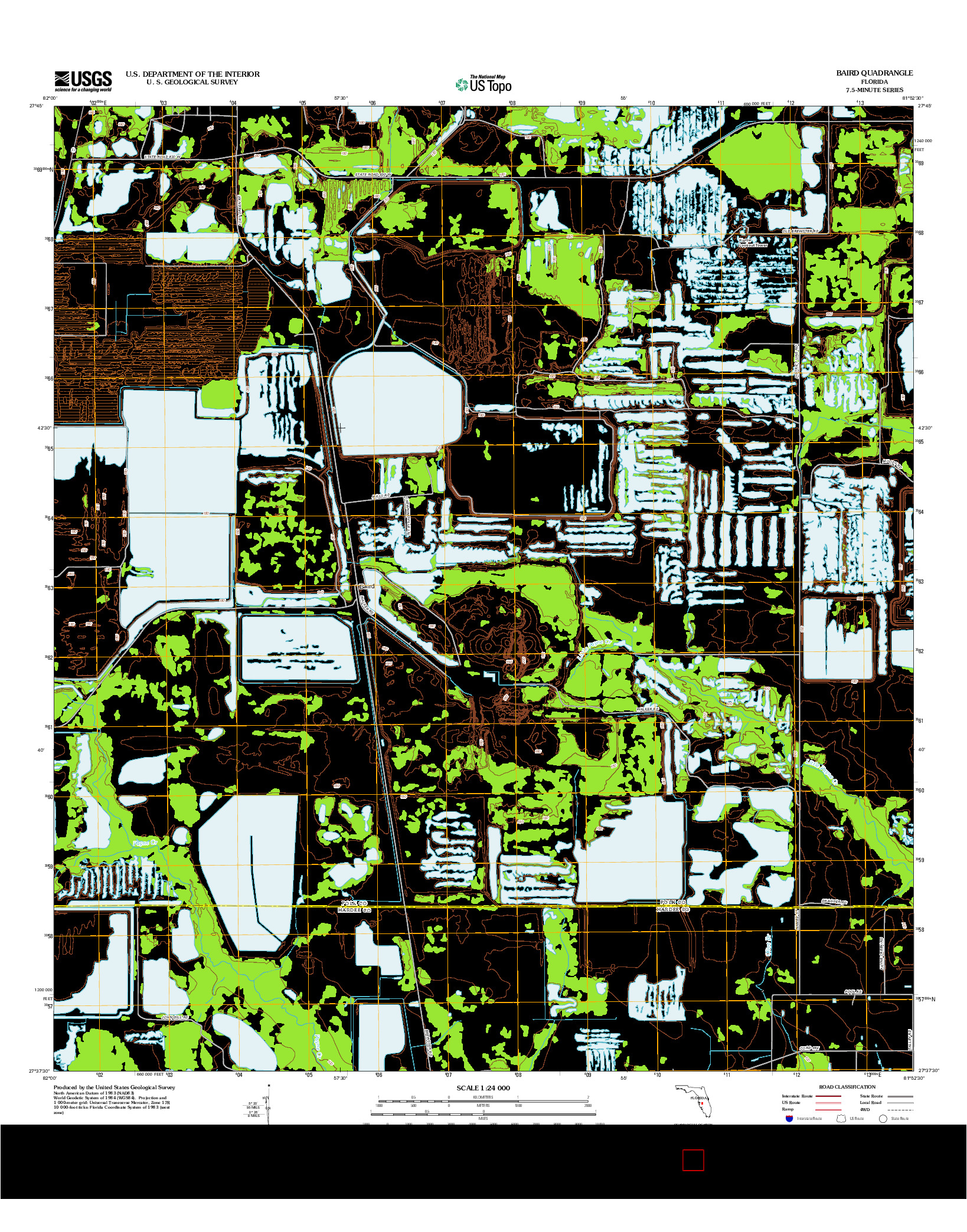 USGS US TOPO 7.5-MINUTE MAP FOR BAIRD, FL 2012