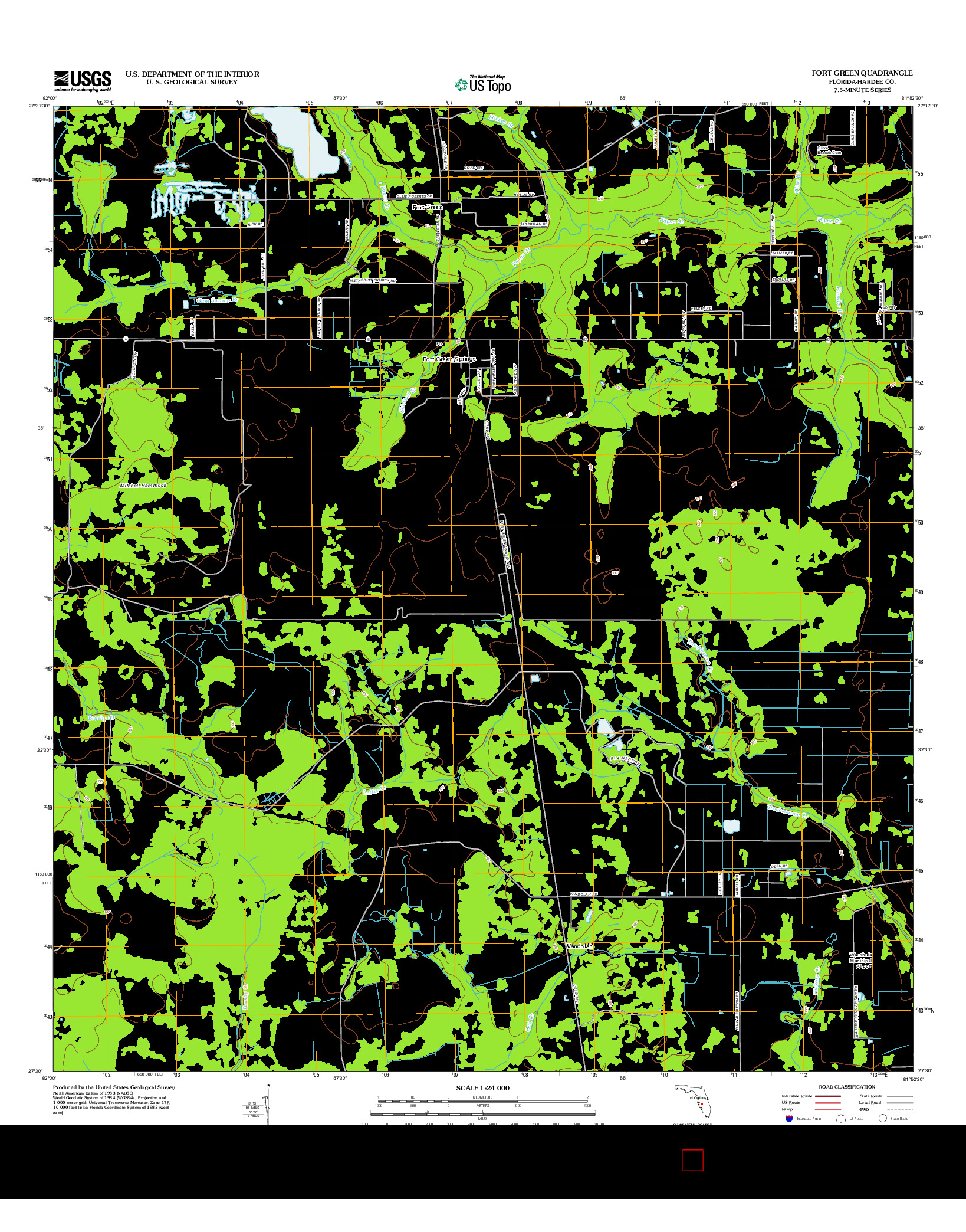 USGS US TOPO 7.5-MINUTE MAP FOR FORT GREEN, FL 2012