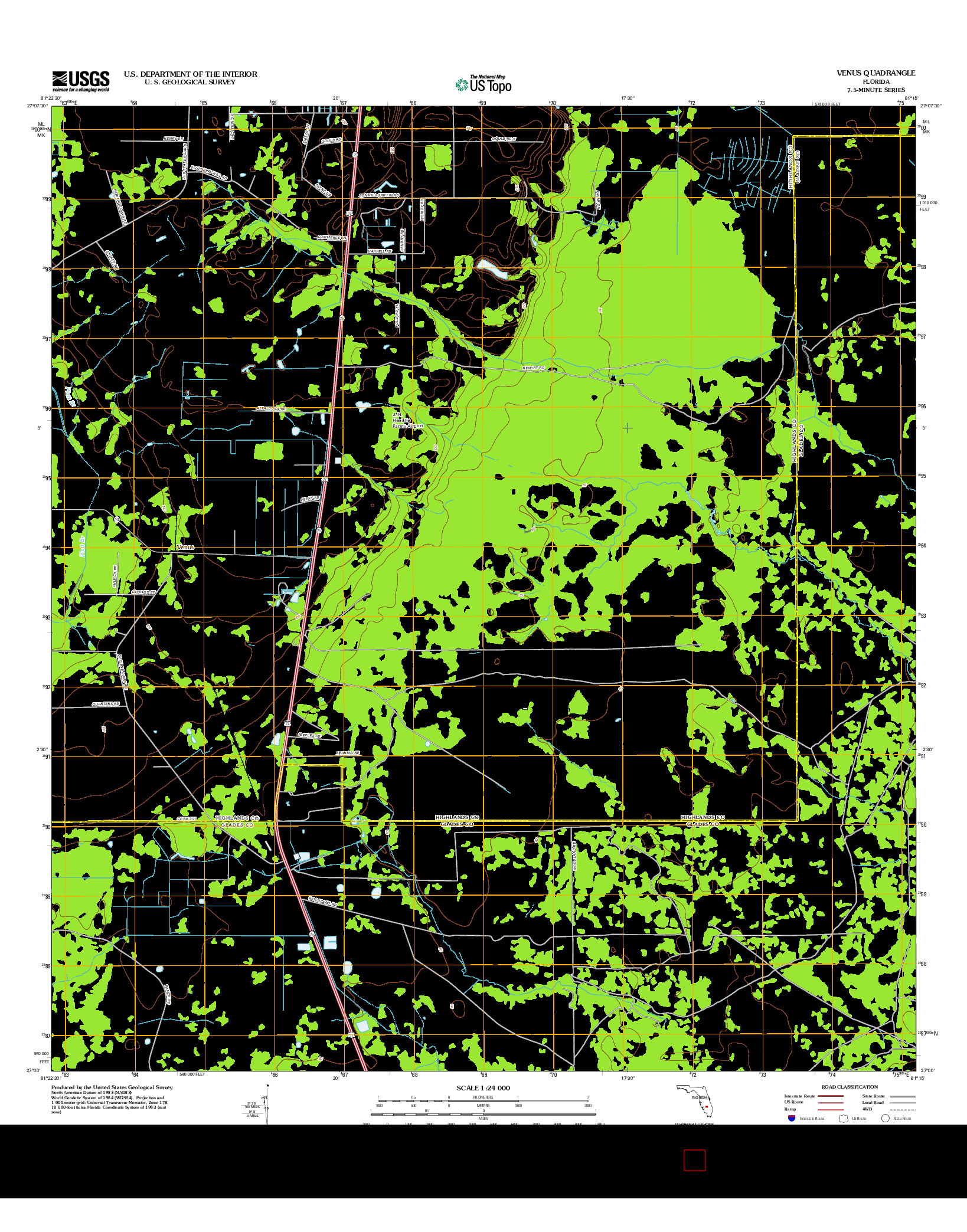 USGS US TOPO 7.5-MINUTE MAP FOR VENUS, FL 2012