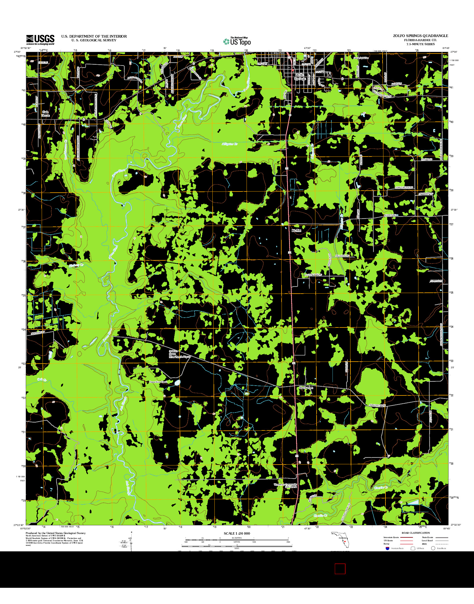 USGS US TOPO 7.5-MINUTE MAP FOR ZOLFO SPRINGS, FL 2012