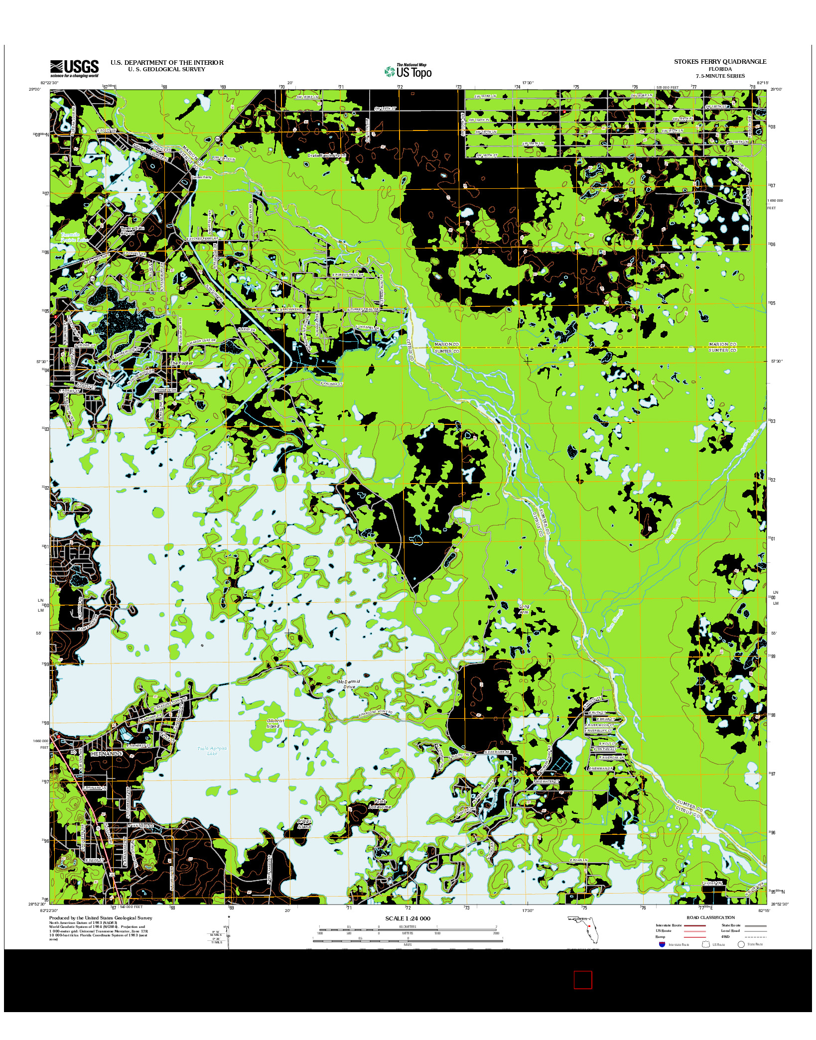 USGS US TOPO 7.5-MINUTE MAP FOR STOKES FERRY, FL 2012