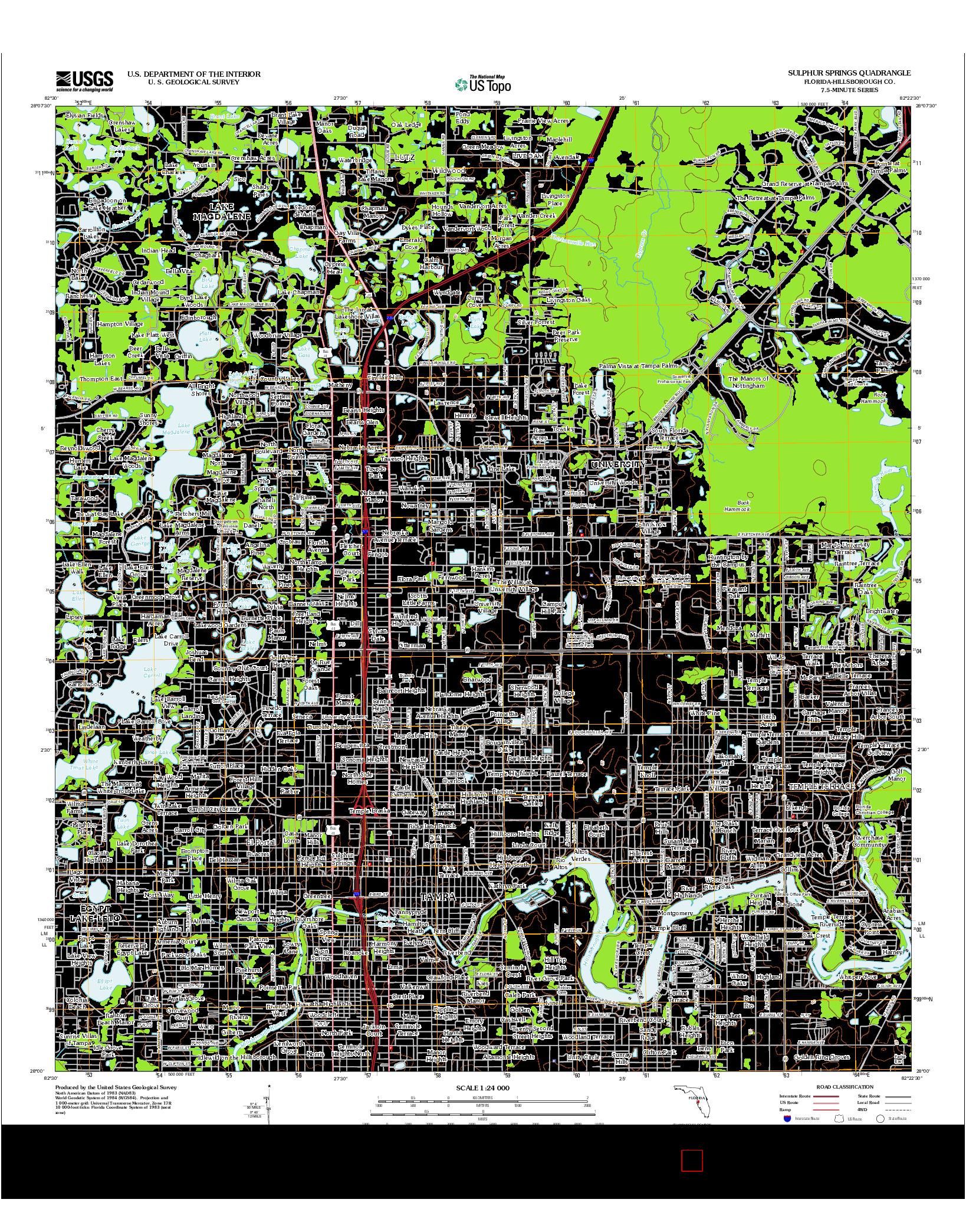 USGS US TOPO 7.5-MINUTE MAP FOR SULPHUR SPRINGS, FL 2012