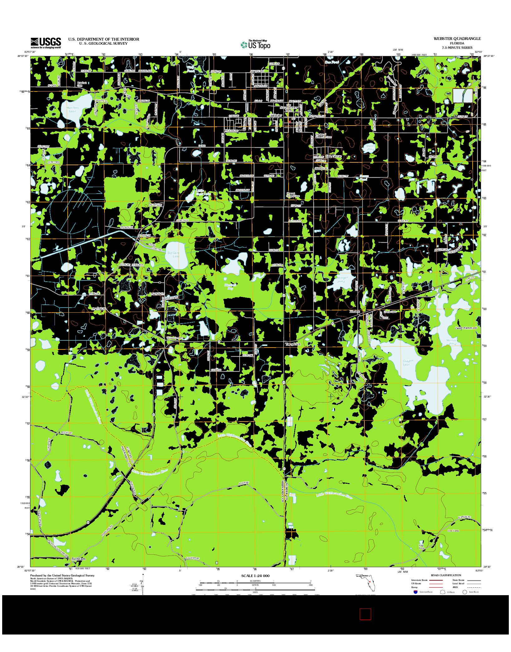 USGS US TOPO 7.5-MINUTE MAP FOR WEBSTER, FL 2012