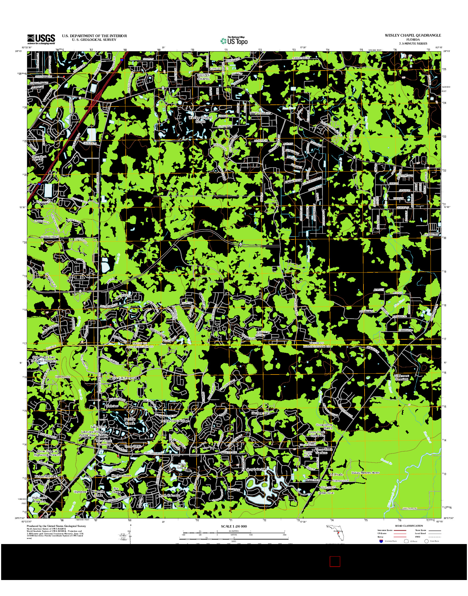 USGS US TOPO 7.5-MINUTE MAP FOR WESLEY CHAPEL, FL 2012