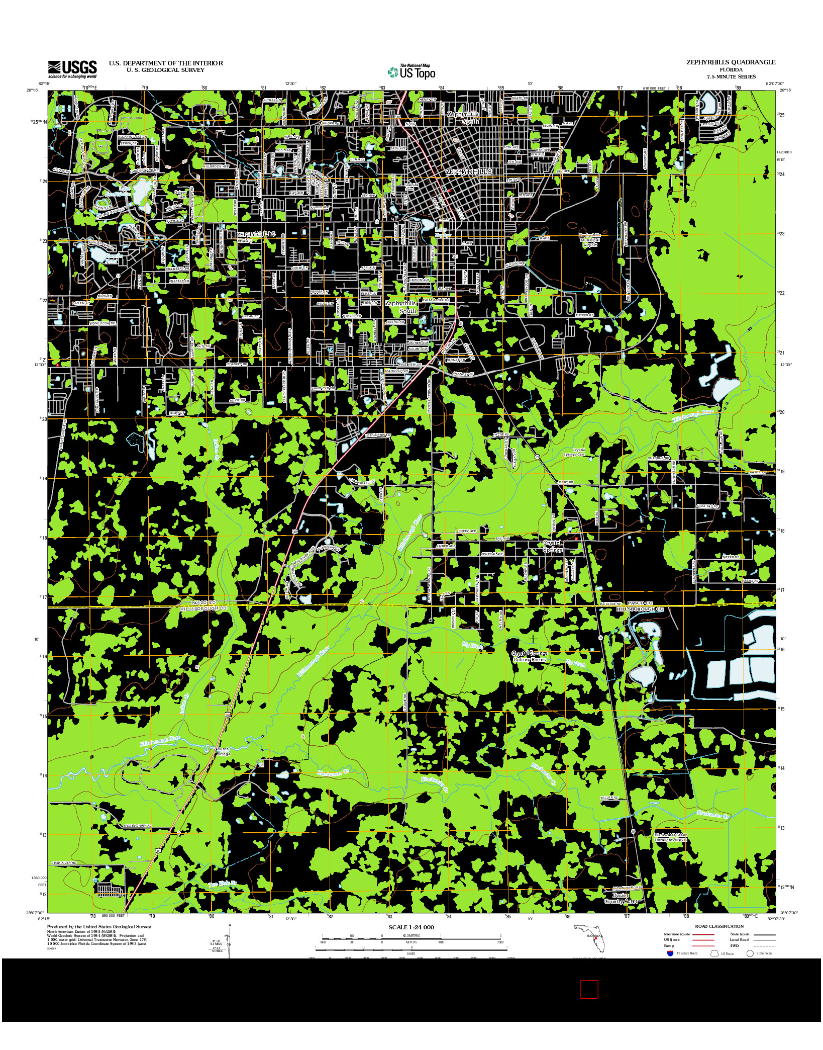 USGS US TOPO 7.5-MINUTE MAP FOR ZEPHYRHILLS, FL 2012