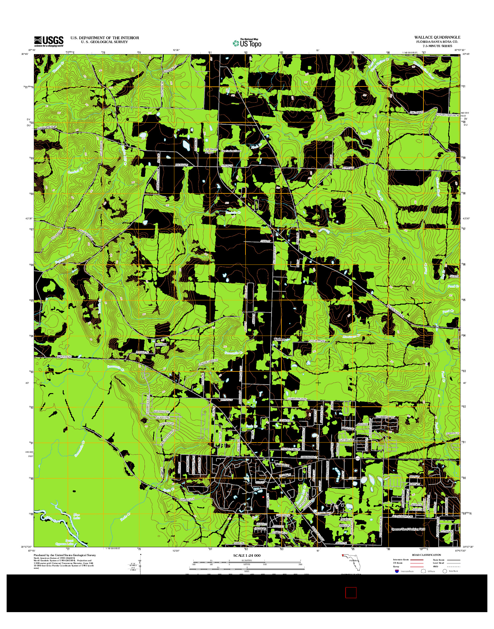 USGS US TOPO 7.5-MINUTE MAP FOR WALLACE, FL 2012