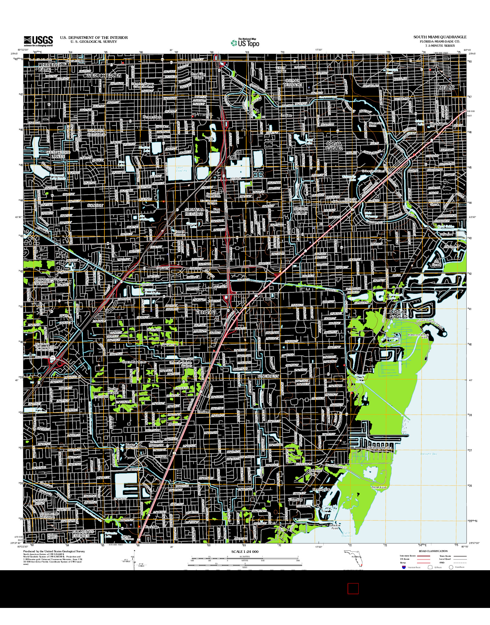 USGS US TOPO 7.5-MINUTE MAP FOR SOUTH MIAMI, FL 2012