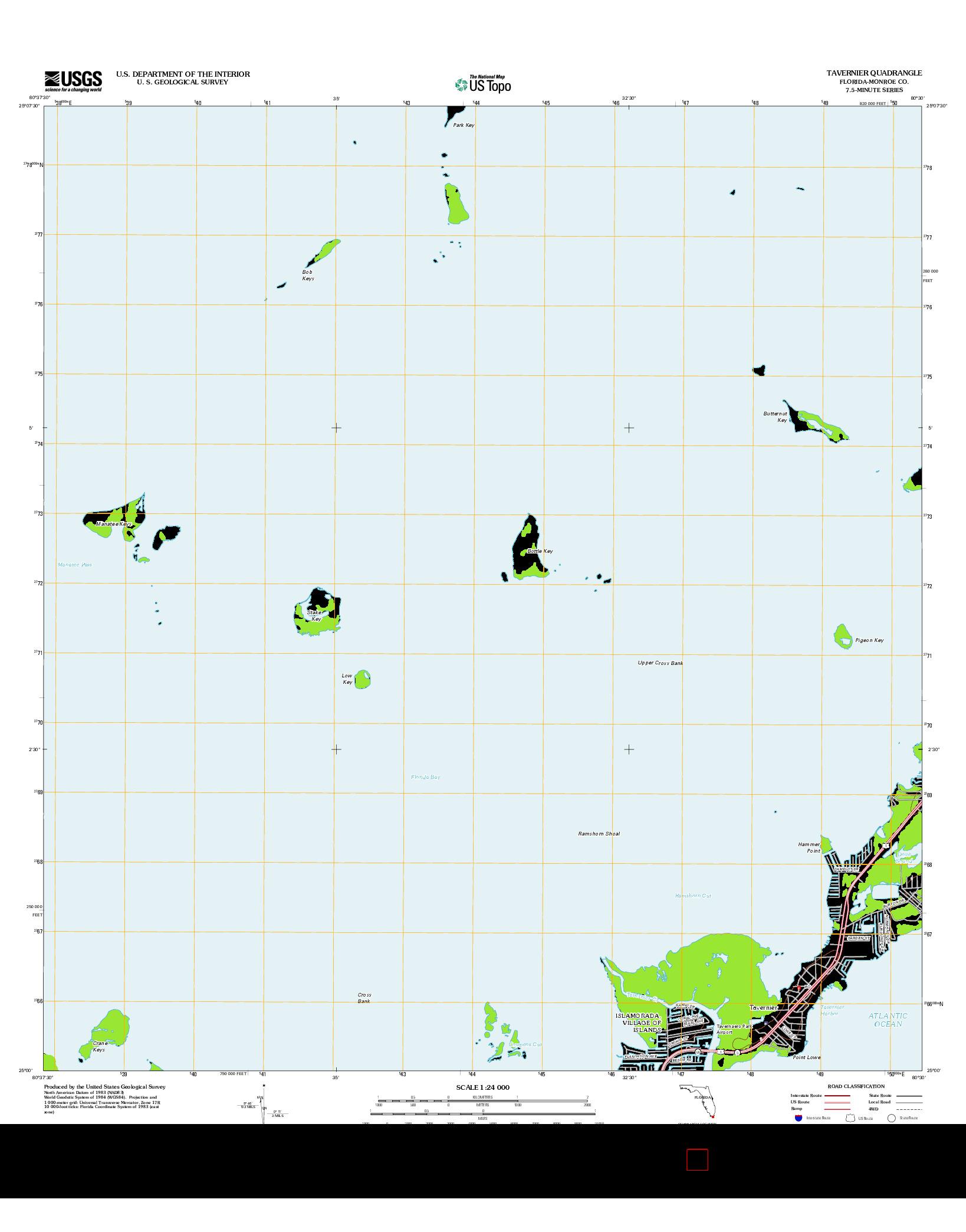 USGS US TOPO 7.5-MINUTE MAP FOR TAVERNIER, FL 2012