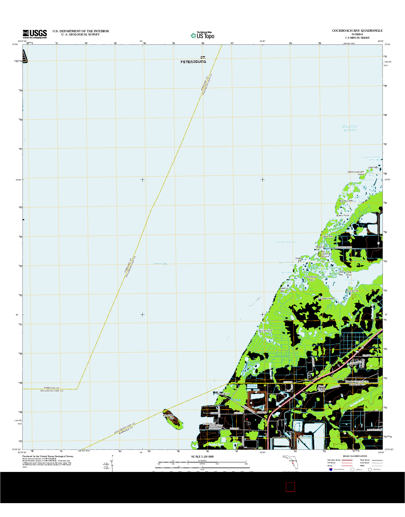 USGS US TOPO 7.5-MINUTE MAP FOR COCKROACH BAY, FL 2012