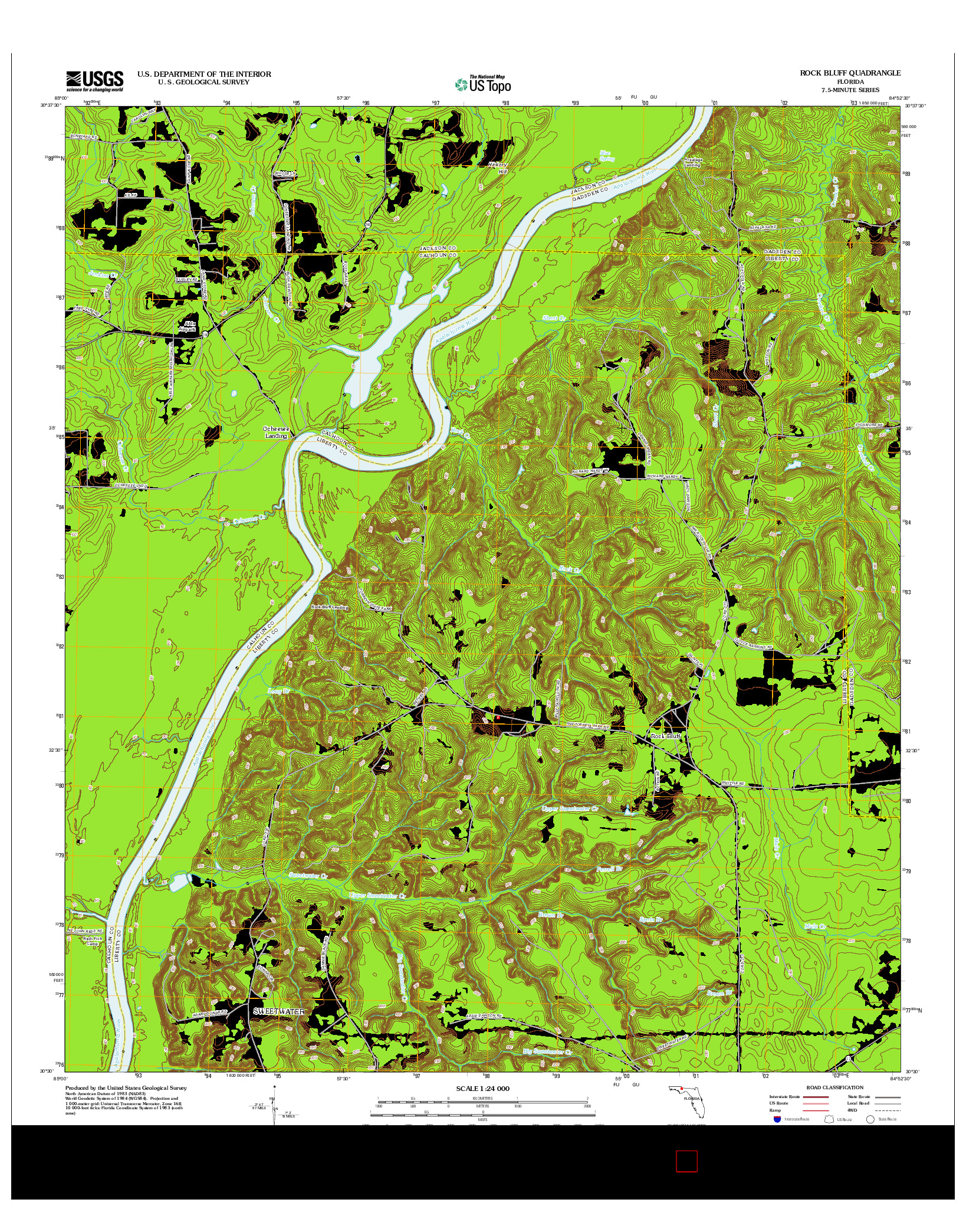 USGS US TOPO 7.5-MINUTE MAP FOR ROCK BLUFF, FL 2012