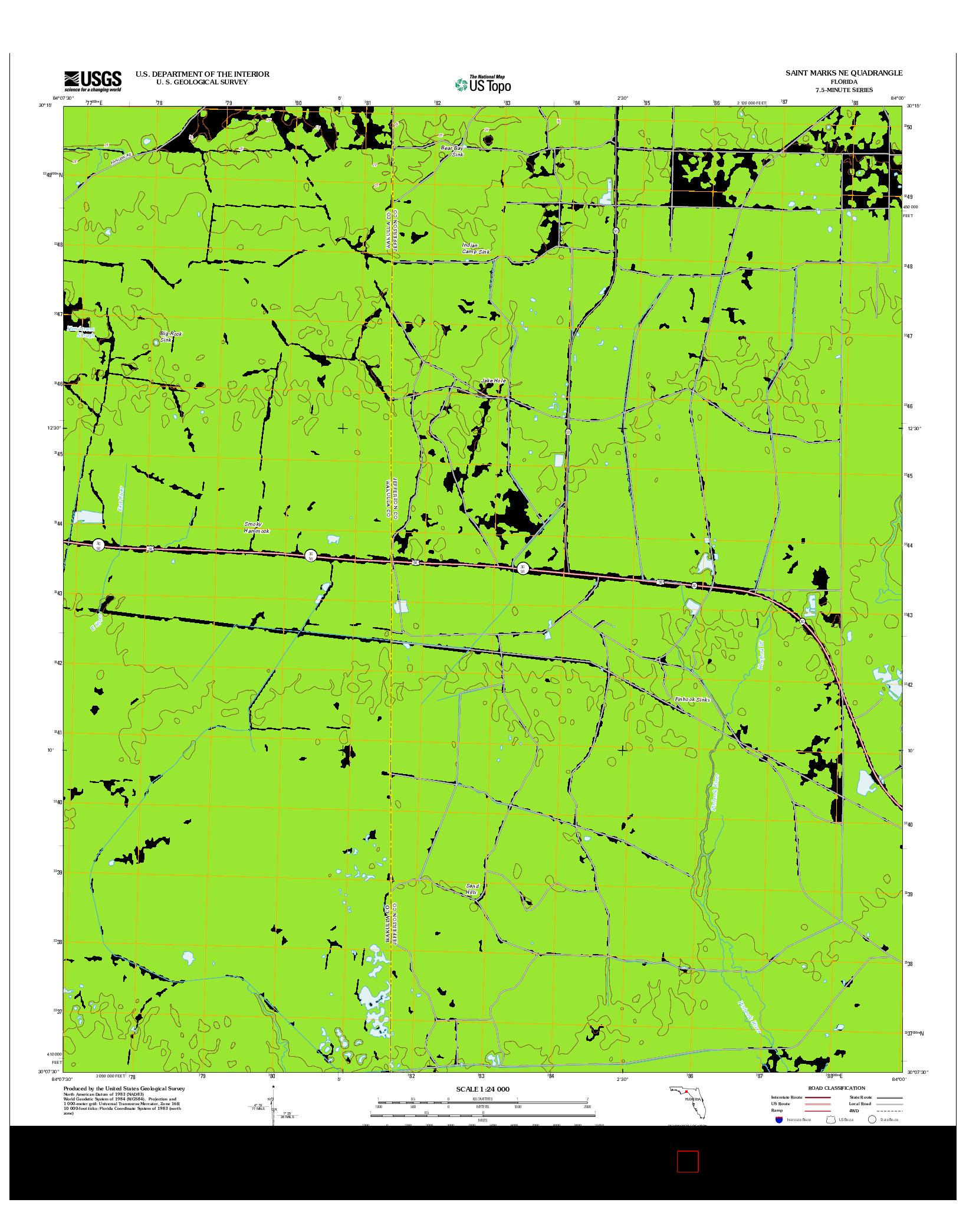 USGS US TOPO 7.5-MINUTE MAP FOR SAINT MARKS NE, FL 2012