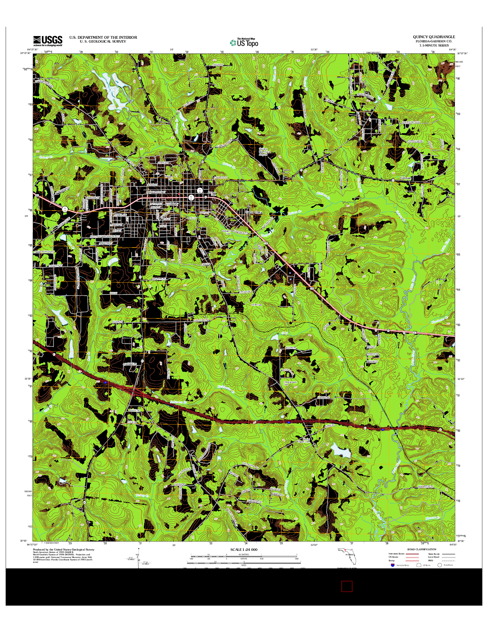 USGS US TOPO 7.5-MINUTE MAP FOR QUINCY, FL 2012