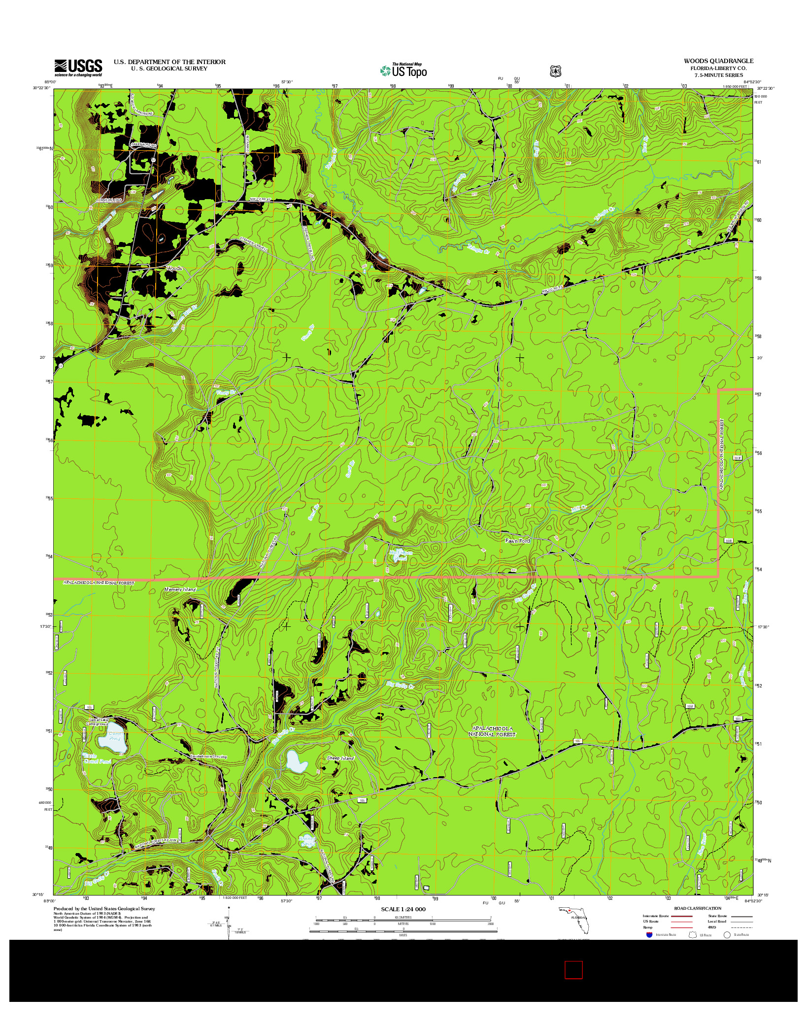 USGS US TOPO 7.5-MINUTE MAP FOR WOODS, FL 2012