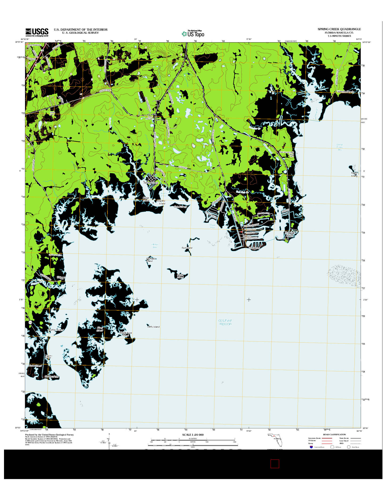 USGS US TOPO 7.5-MINUTE MAP FOR SPRING CREEK, FL 2012