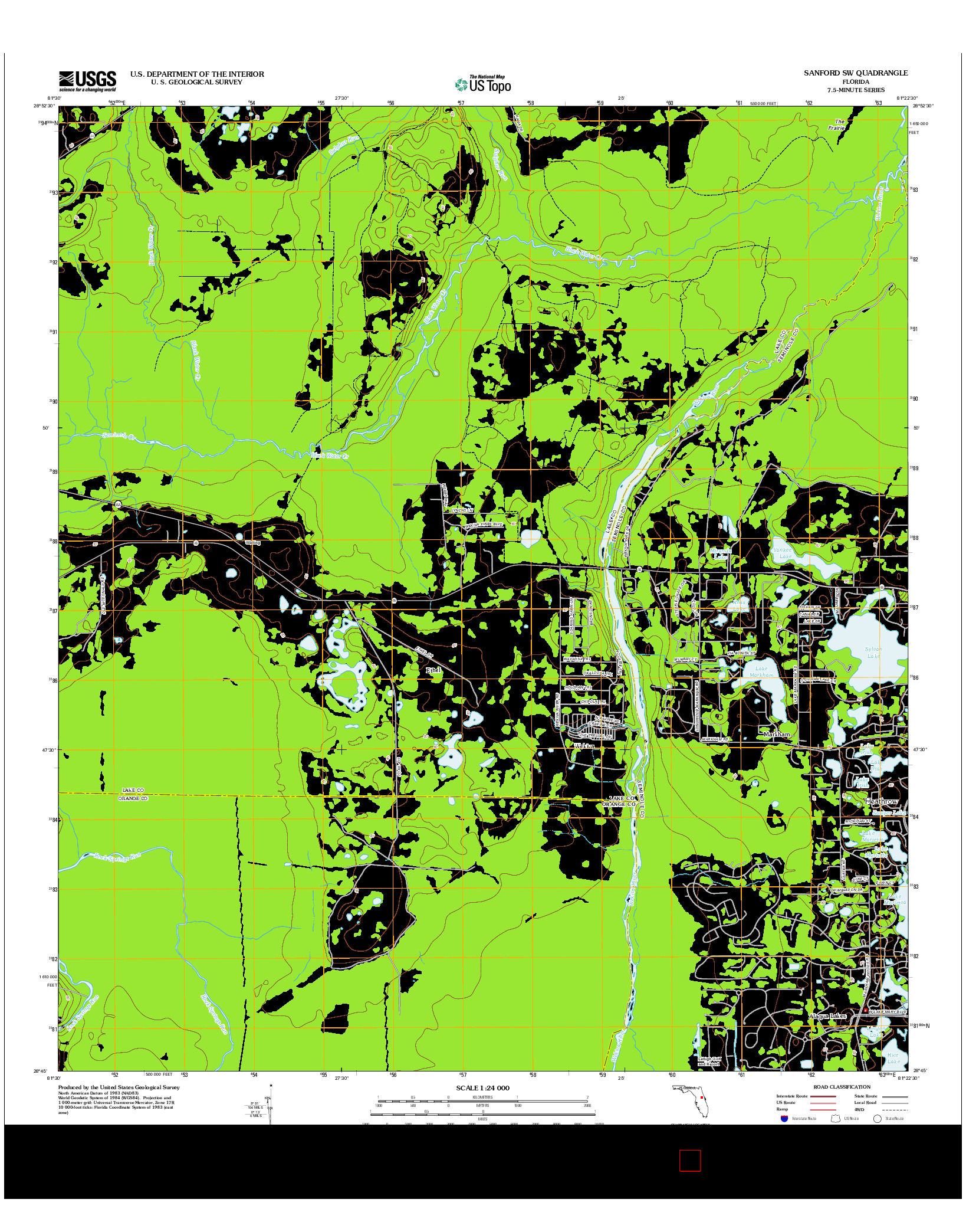 USGS US TOPO 7.5-MINUTE MAP FOR SANFORD SW, FL 2012