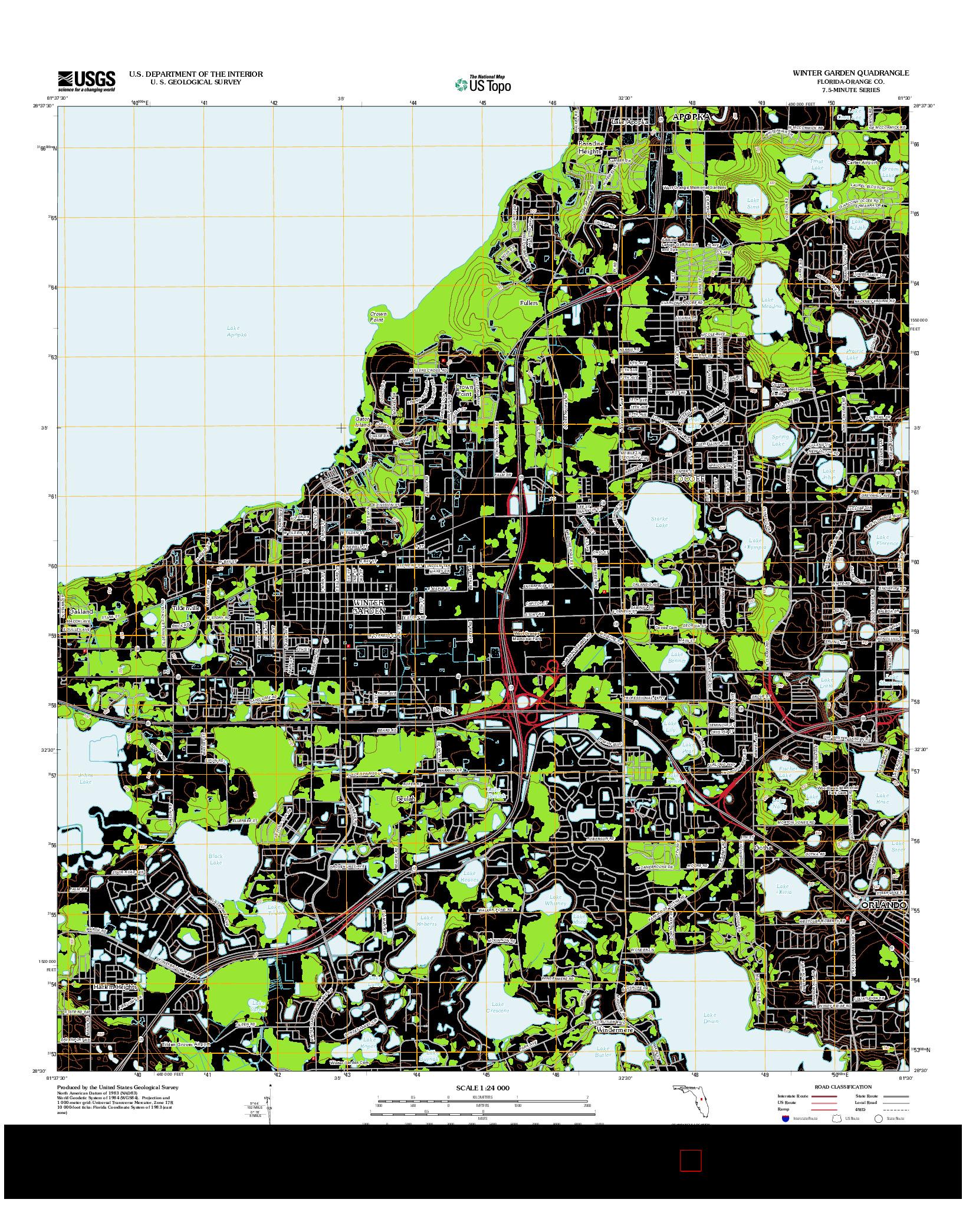 USGS US TOPO 7.5-MINUTE MAP FOR WINTER GARDEN, FL 2012