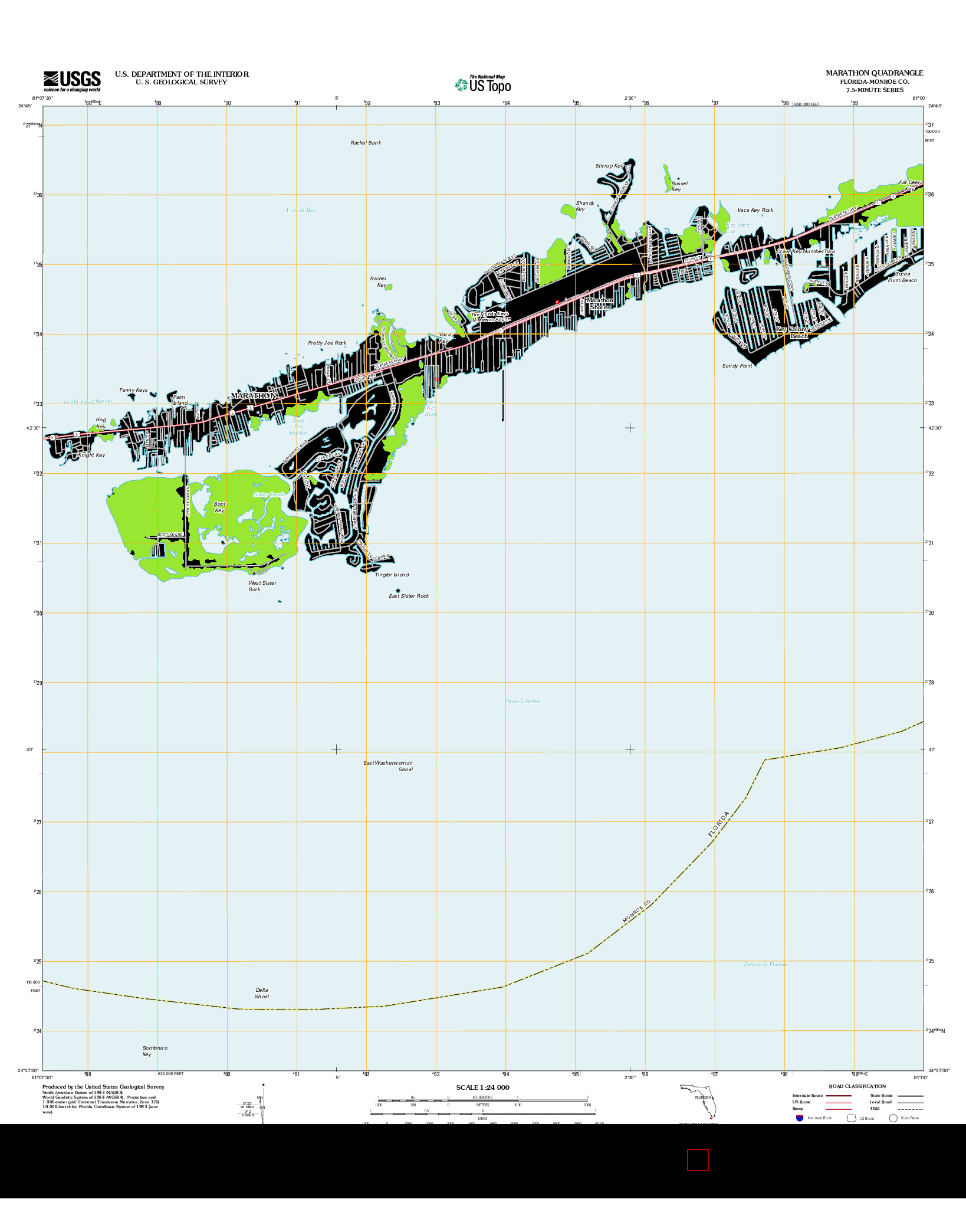 USGS US TOPO 7.5-MINUTE MAP FOR MARATHON, FL 2012