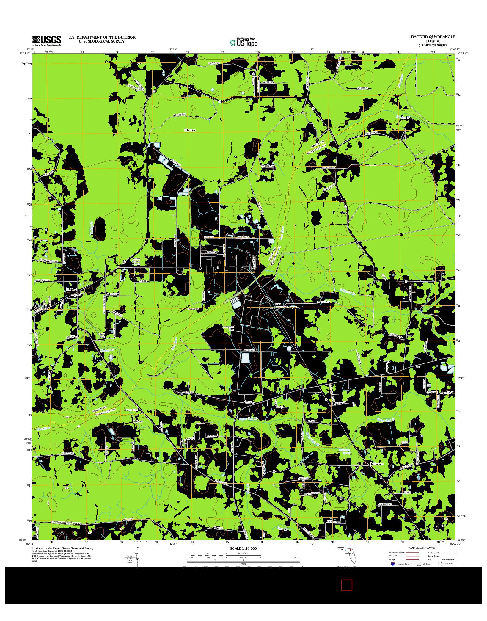 USGS US TOPO 7.5-MINUTE MAP FOR RAIFORD, FL 2012