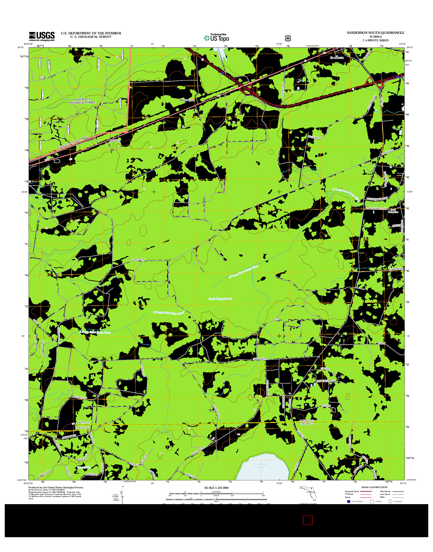 USGS US TOPO 7.5-MINUTE MAP FOR SANDERSON SOUTH, FL 2012