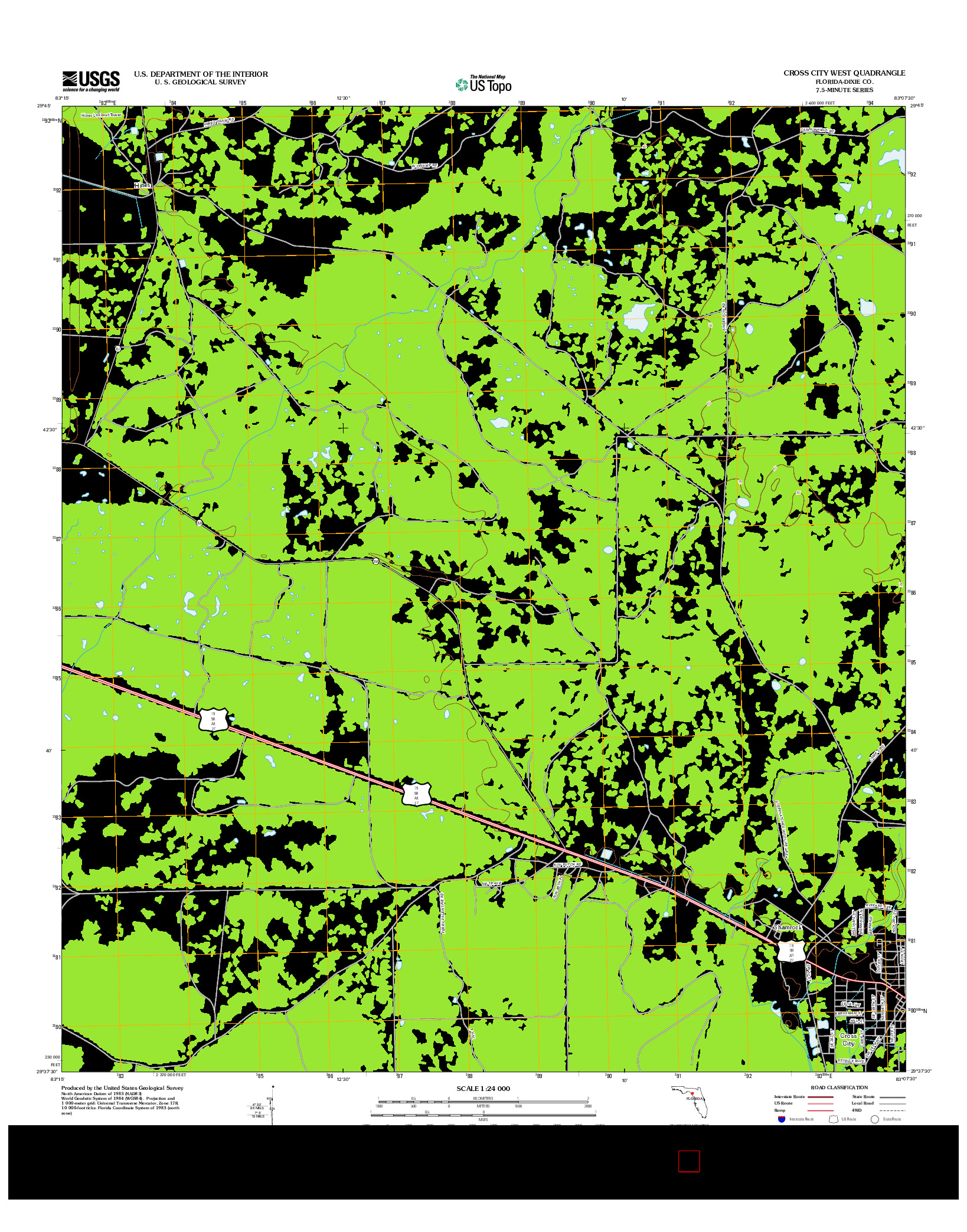 USGS US TOPO 7.5-MINUTE MAP FOR CROSS CITY WEST, FL 2012