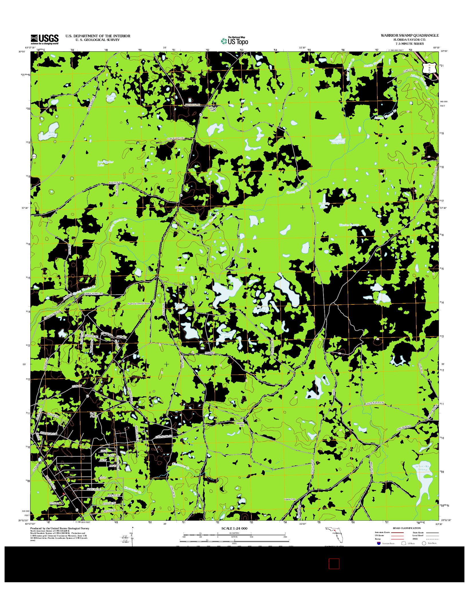 USGS US TOPO 7.5-MINUTE MAP FOR WARRIOR SWAMP, FL 2012