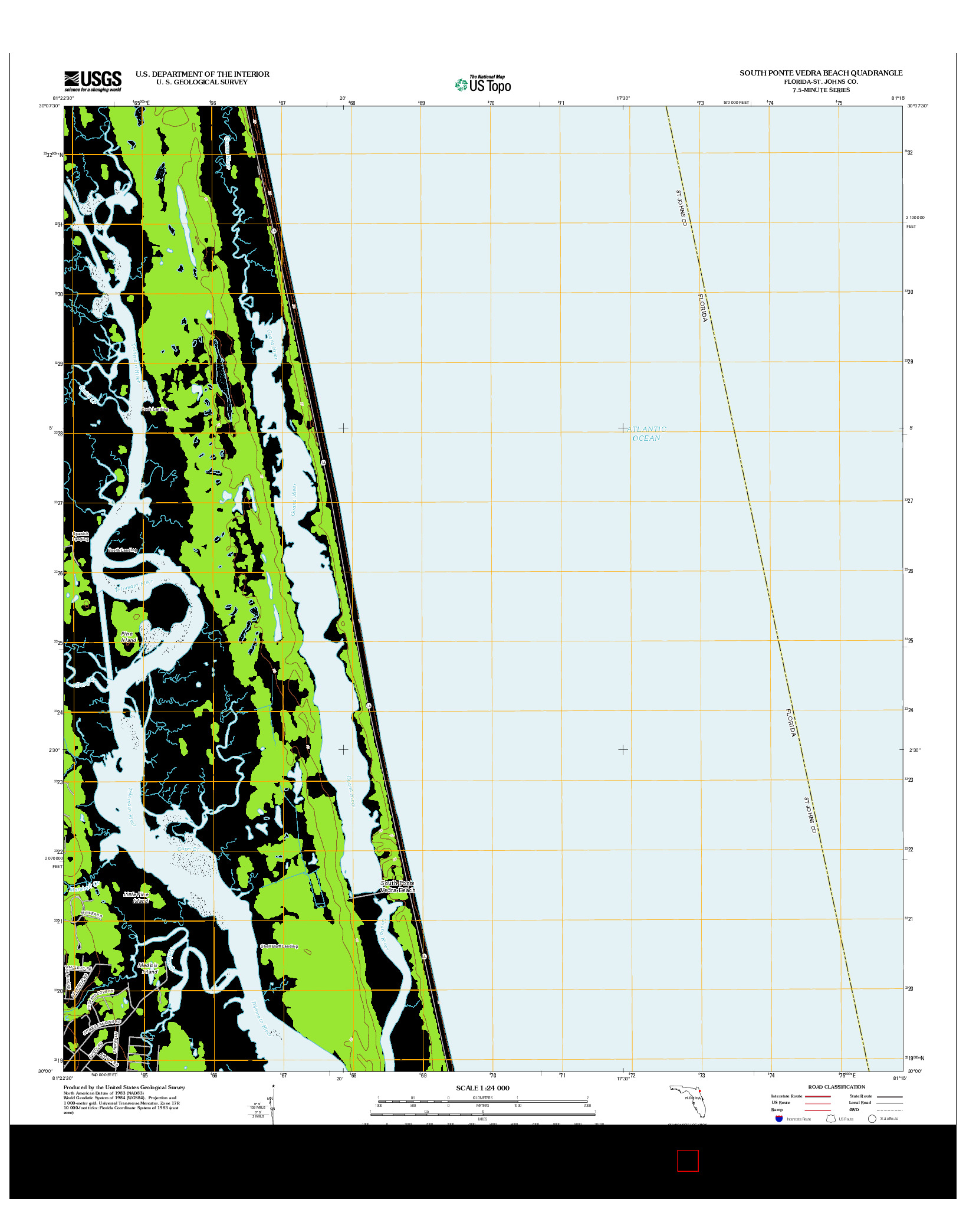 USGS US TOPO 7.5-MINUTE MAP FOR SOUTH PONTE VEDRA BEACH, FL 2012