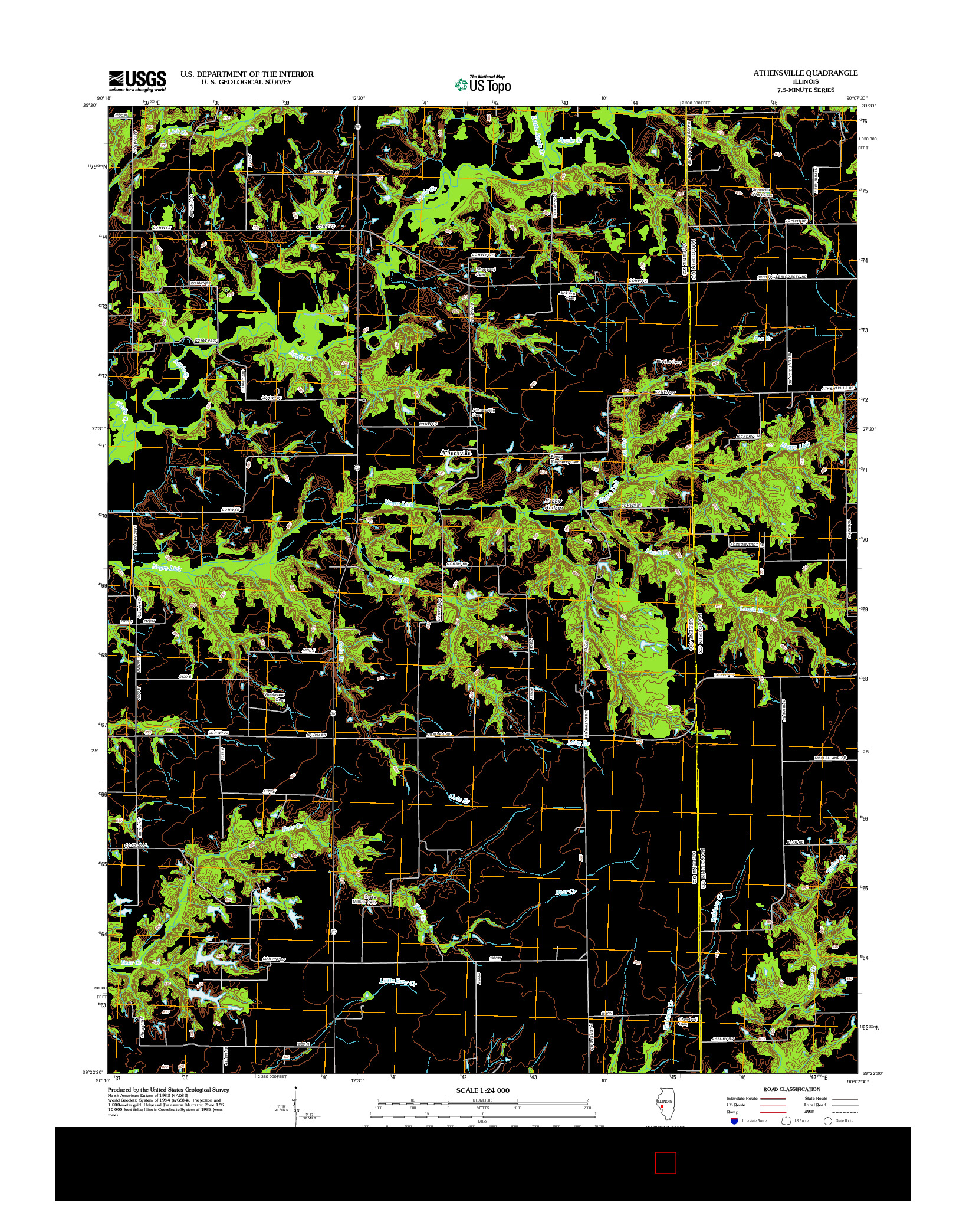 USGS US TOPO 7.5-MINUTE MAP FOR ATHENSVILLE, IL 2012