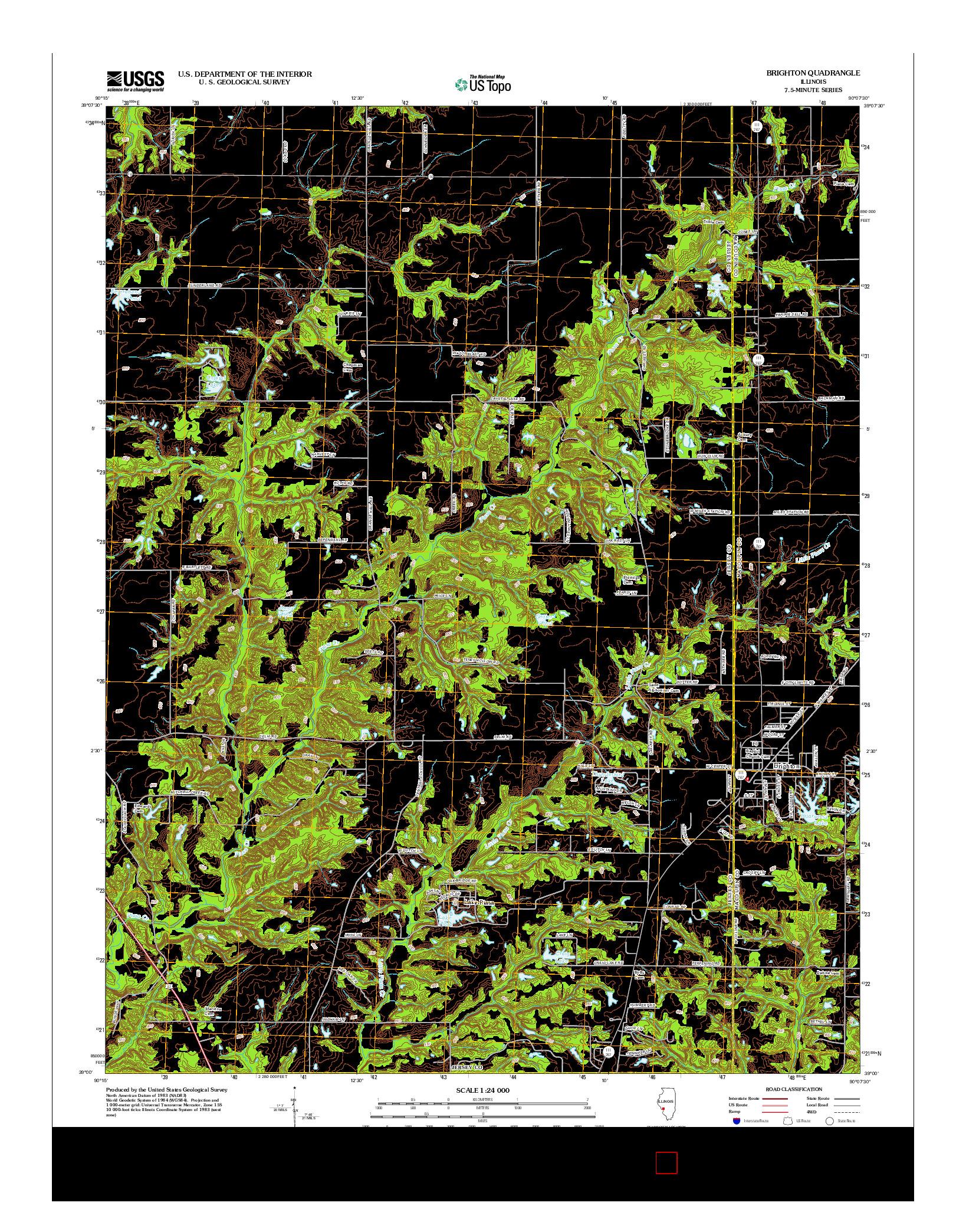 USGS US TOPO 7.5-MINUTE MAP FOR BRIGHTON, IL 2012