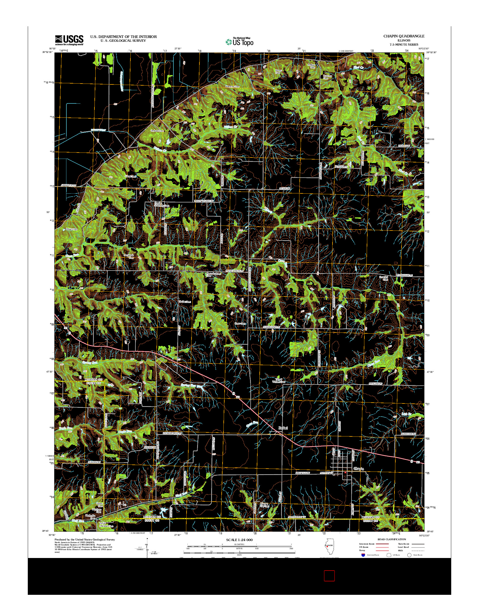 USGS US TOPO 7.5-MINUTE MAP FOR CHAPIN, IL 2012
