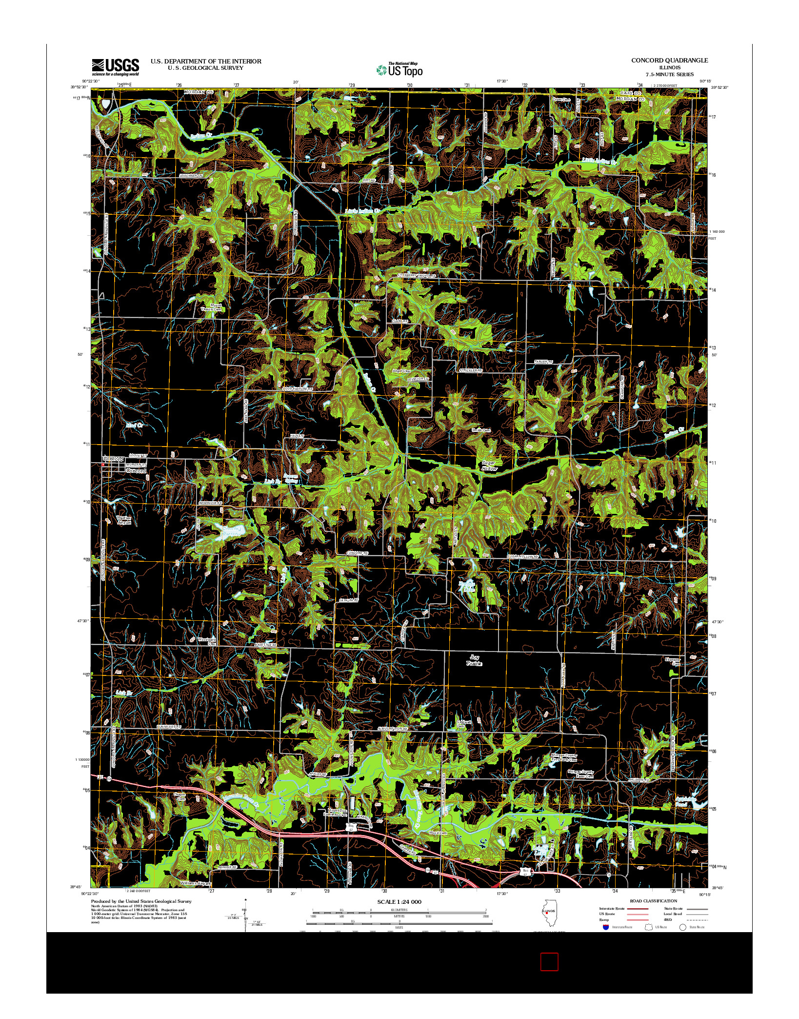 USGS US TOPO 7.5-MINUTE MAP FOR CONCORD, IL 2012