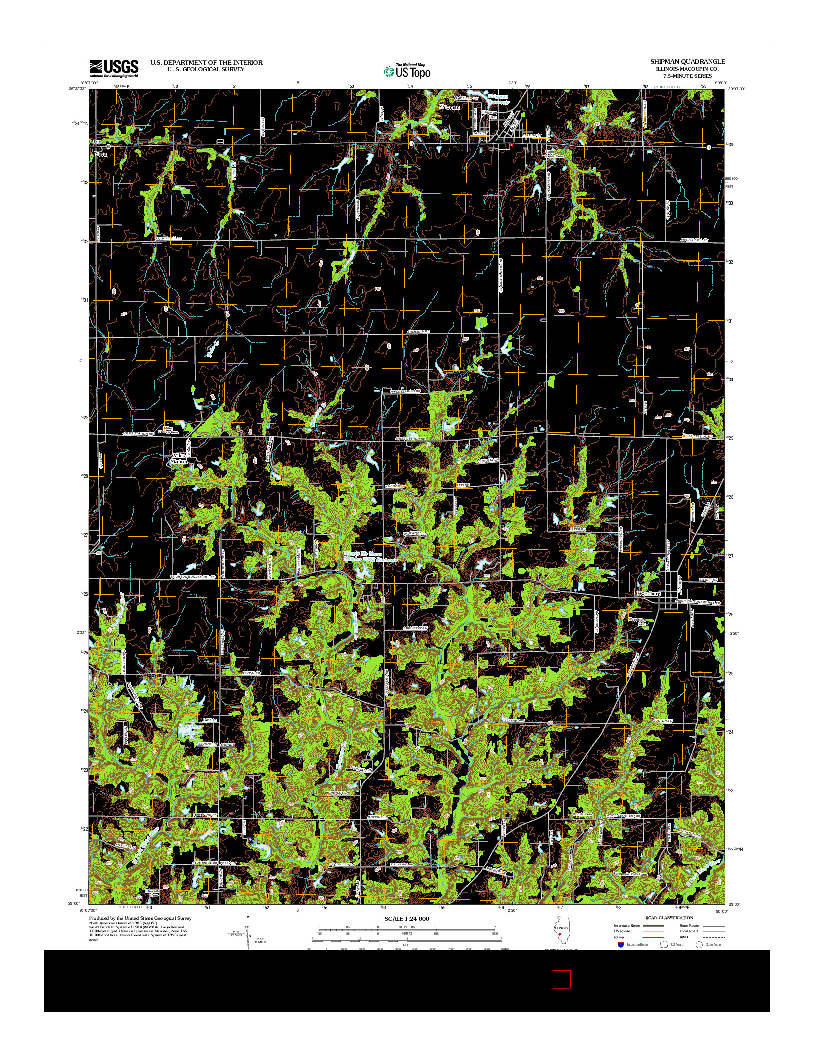 USGS US TOPO 7.5-MINUTE MAP FOR SHIPMAN, IL 2012