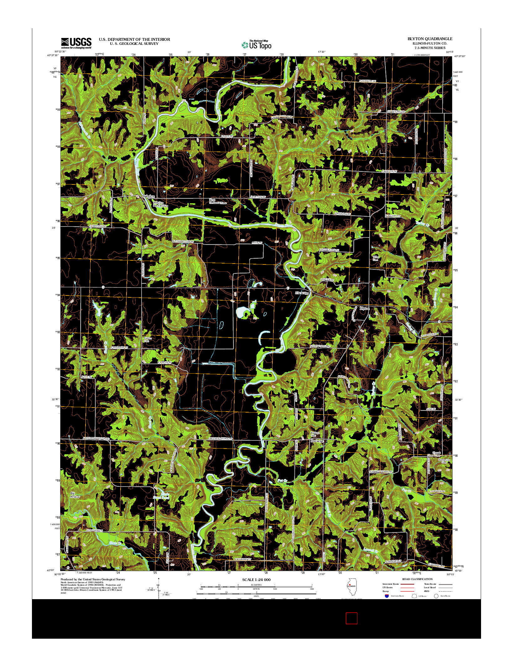 USGS US TOPO 7.5-MINUTE MAP FOR BLYTON, IL 2012