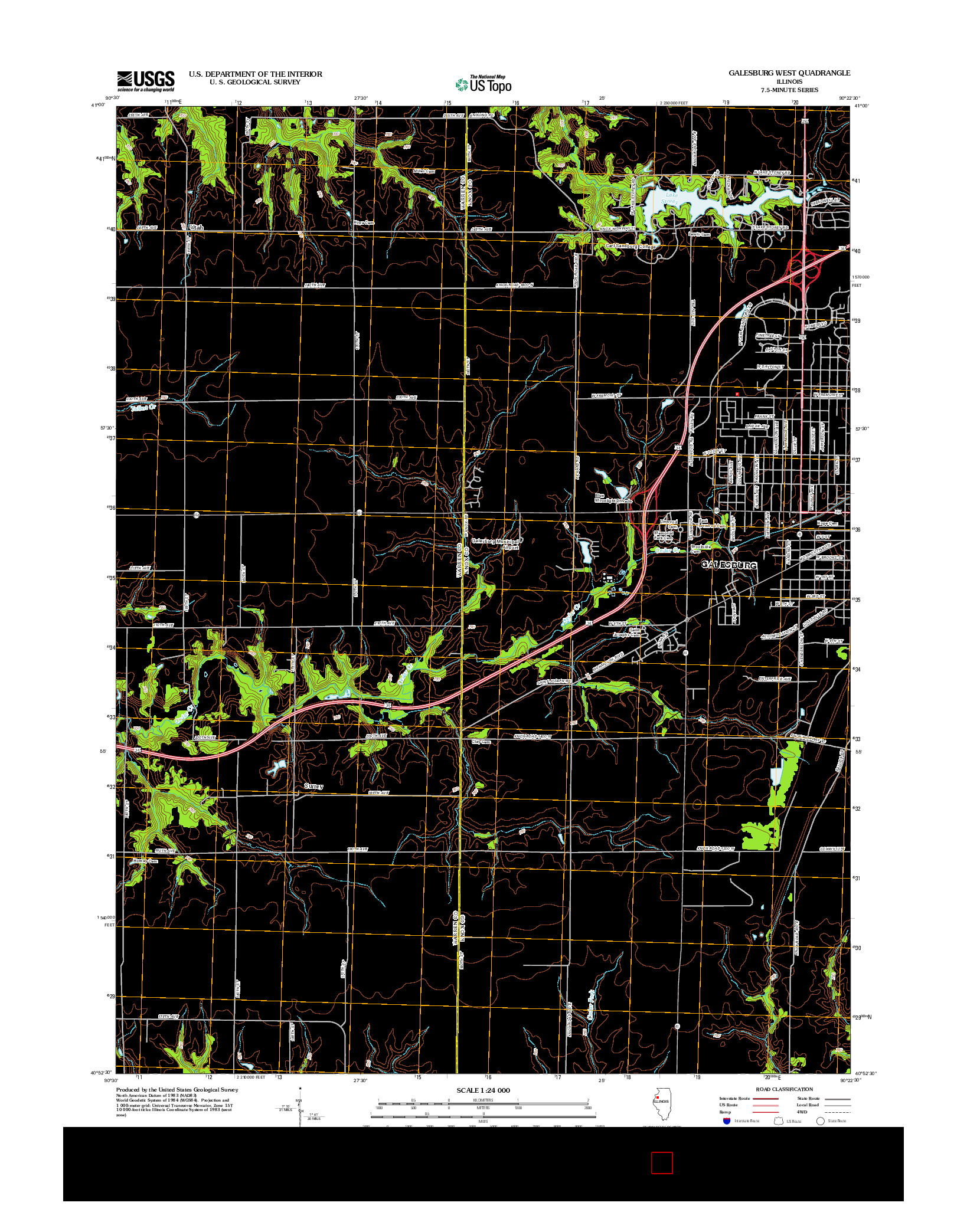 USGS US TOPO 7.5-MINUTE MAP FOR GALESBURG WEST, IL 2012