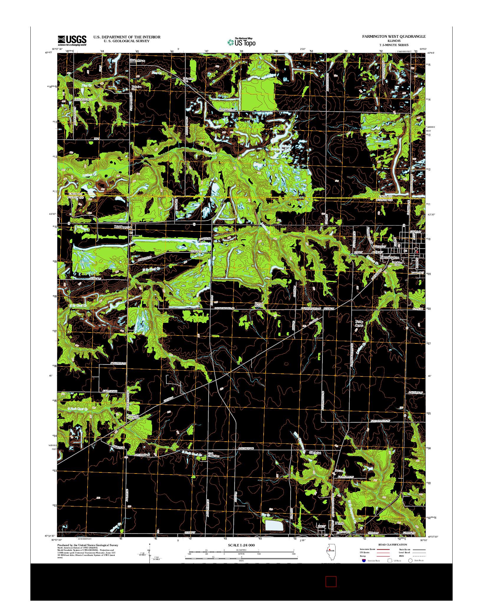 USGS US TOPO 7.5-MINUTE MAP FOR FARMINGTON WEST, IL 2012