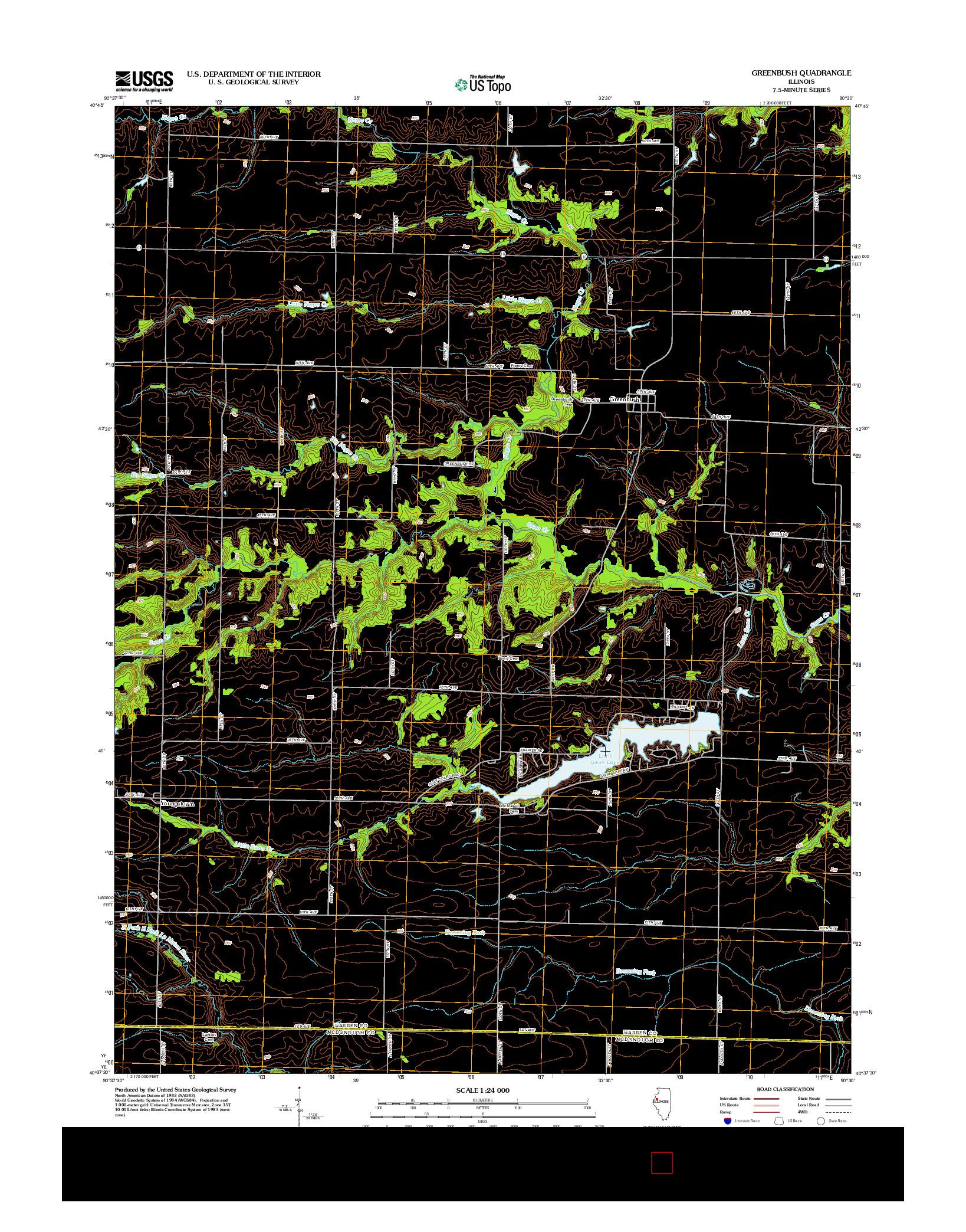 USGS US TOPO 7.5-MINUTE MAP FOR GREENBUSH, IL 2012