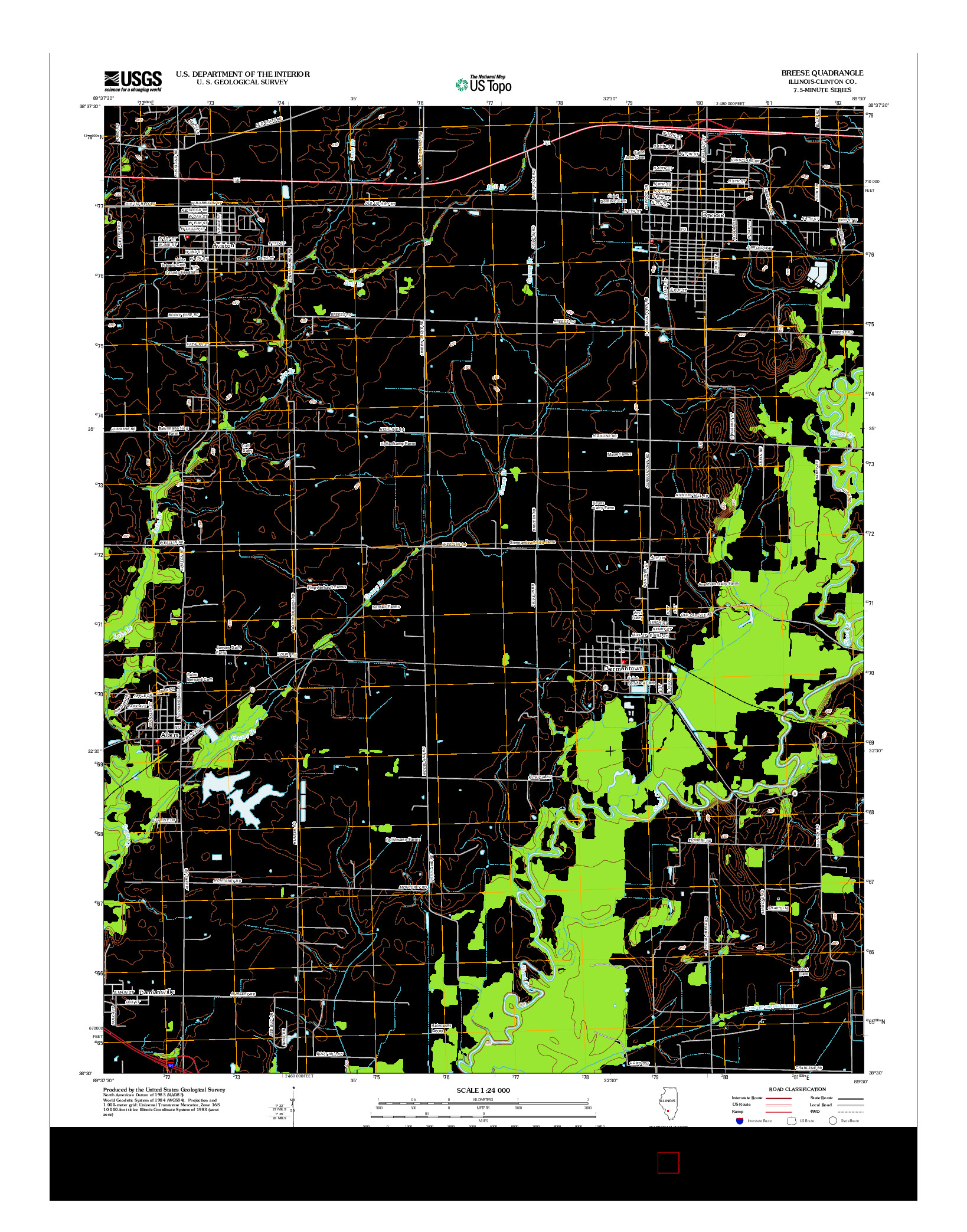 USGS US TOPO 7.5-MINUTE MAP FOR BREESE, IL 2012