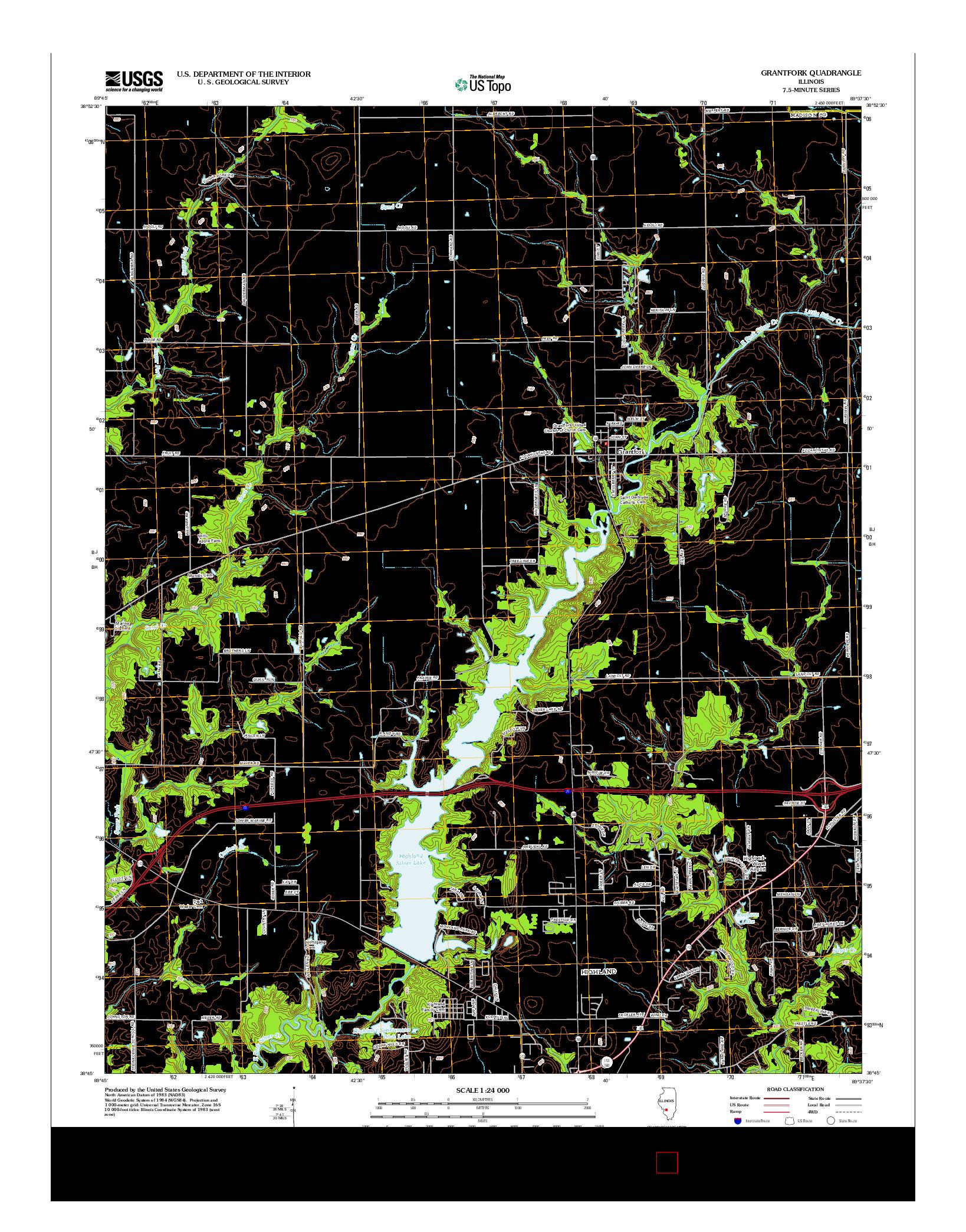 USGS US TOPO 7.5-MINUTE MAP FOR GRANTFORK, IL 2012