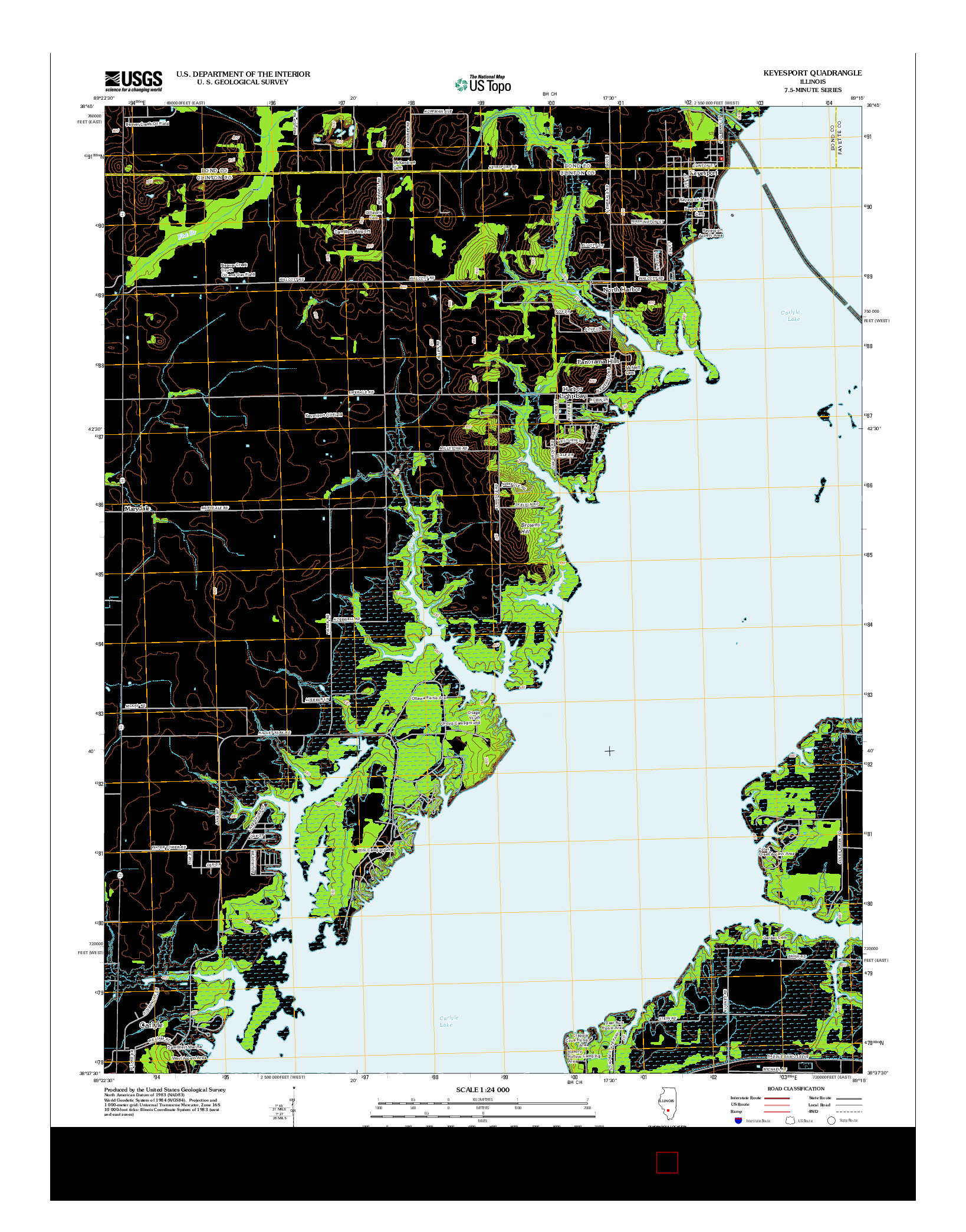 USGS US TOPO 7.5-MINUTE MAP FOR KEYESPORT, IL 2012